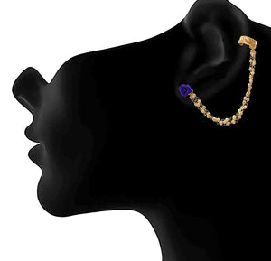 JFL - Traditional Ethnic One Gram Gold Plated Pearl & Floral Designer Earcuff Earring for Women & Girls