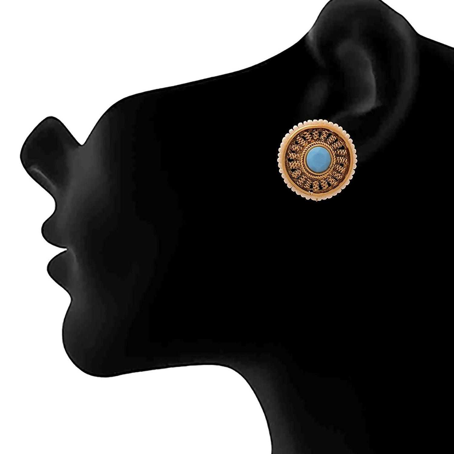 JFL - Bewitching Spiral Designer One Gram Gold Plated Black Stone, Pearls Earring for Girl & Women.