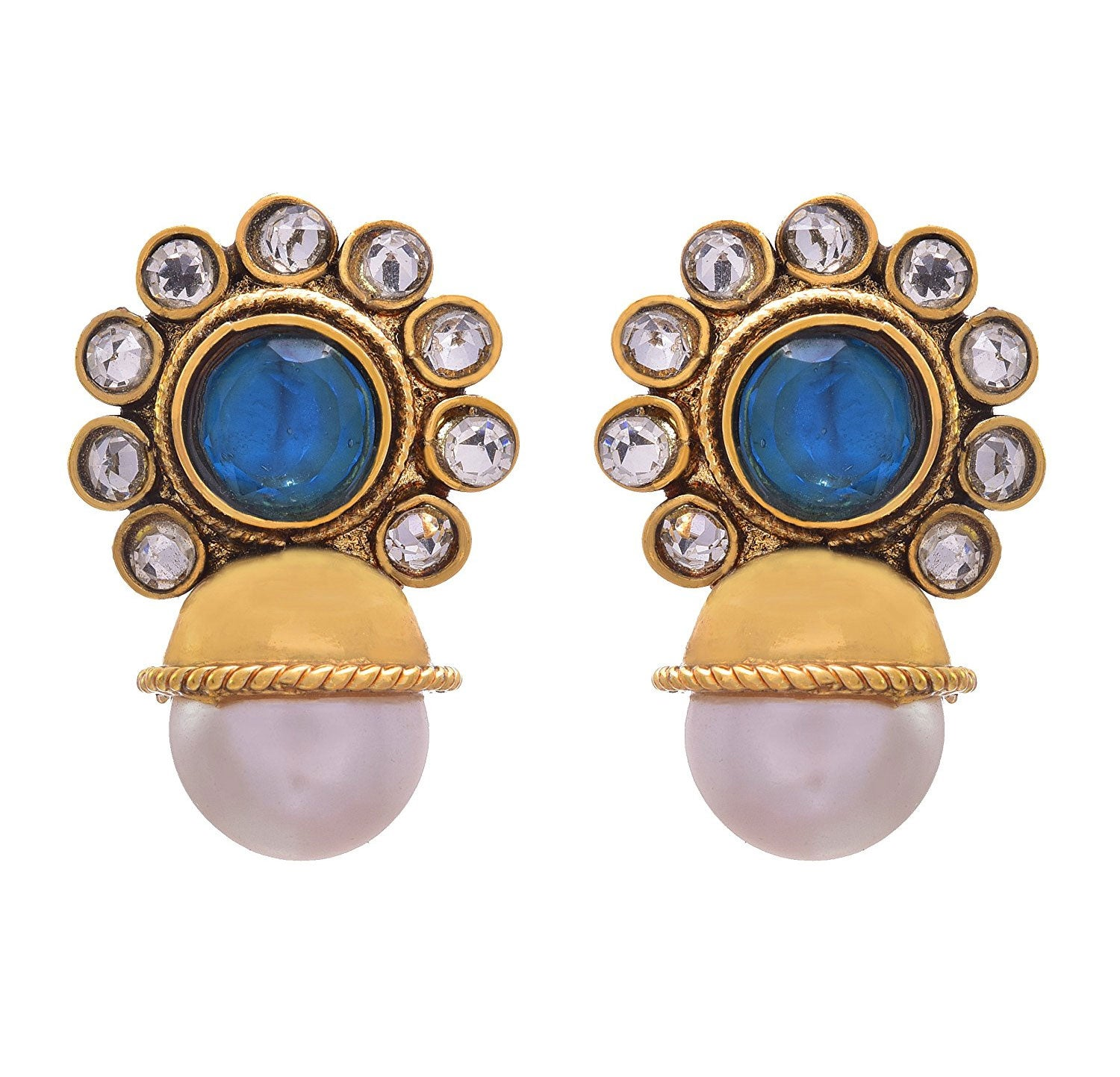 JFL - Traditional Ethnic One Gram Gold Plated Diamond Designer Earring with Pearls for Women & Girls.