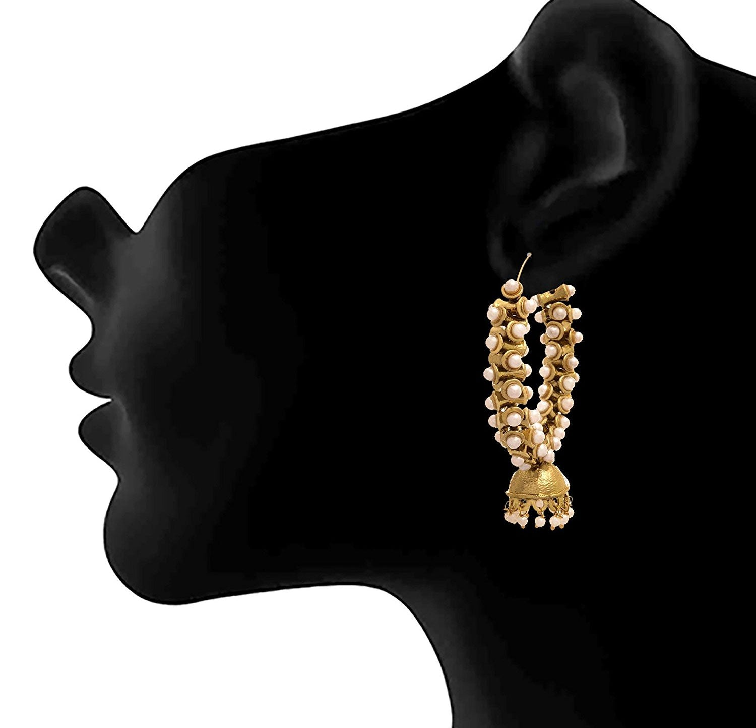 JFL - Traditional Stylish Ethnic One Gram Gold Plated Pearls Designer Bali Earring for Women & Girls.
