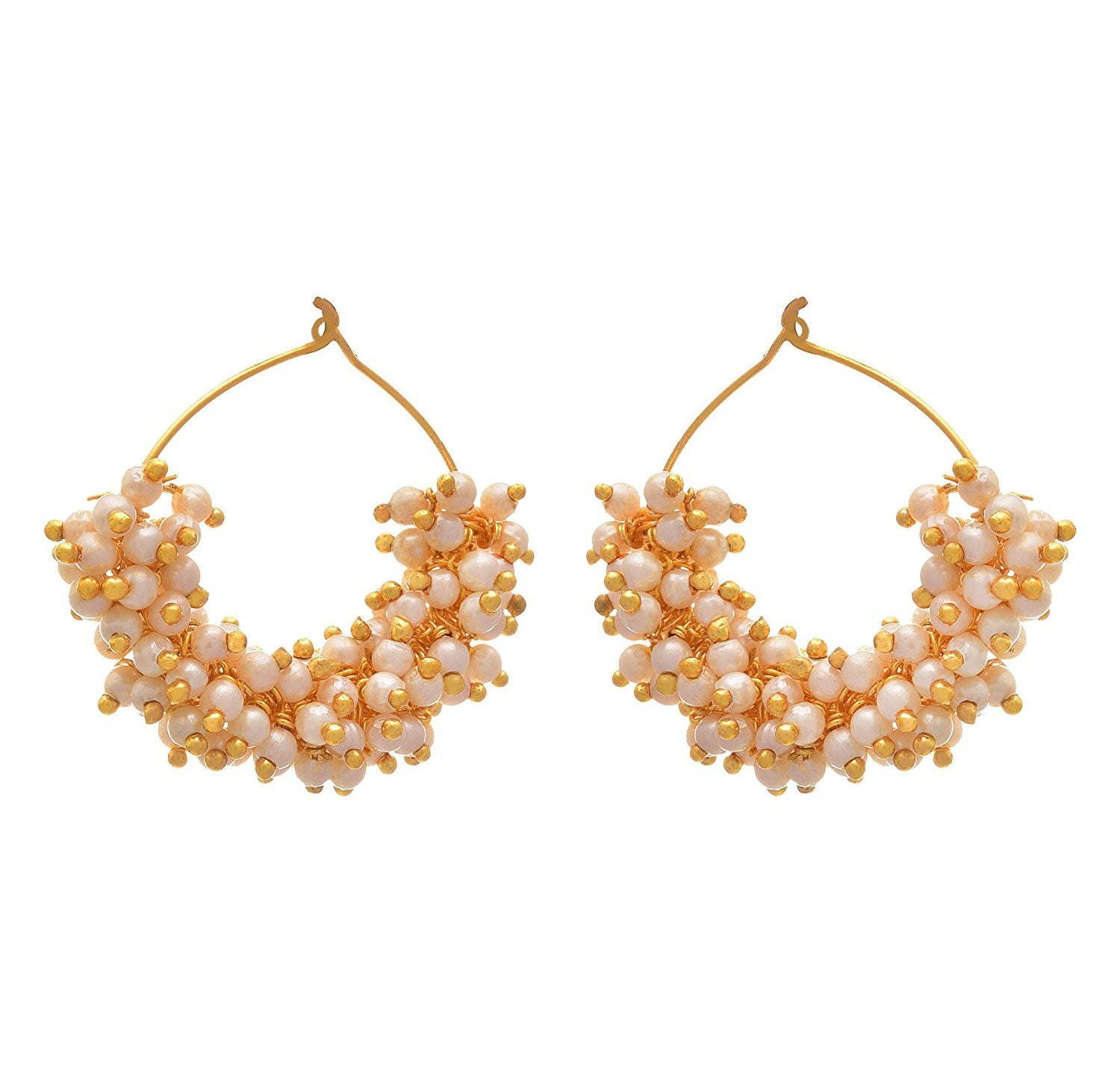 JFL - Fusion Traditional Ethnic One Gram Gold Plated Pearl Designer Bali Earrings Women and Girls.
