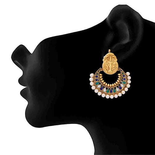 JFL -Traditional Ethnic One Gram Gold Plated Temple Mahalaxmi Ramleela Polki and Pearls Earrings for Women and Girls.