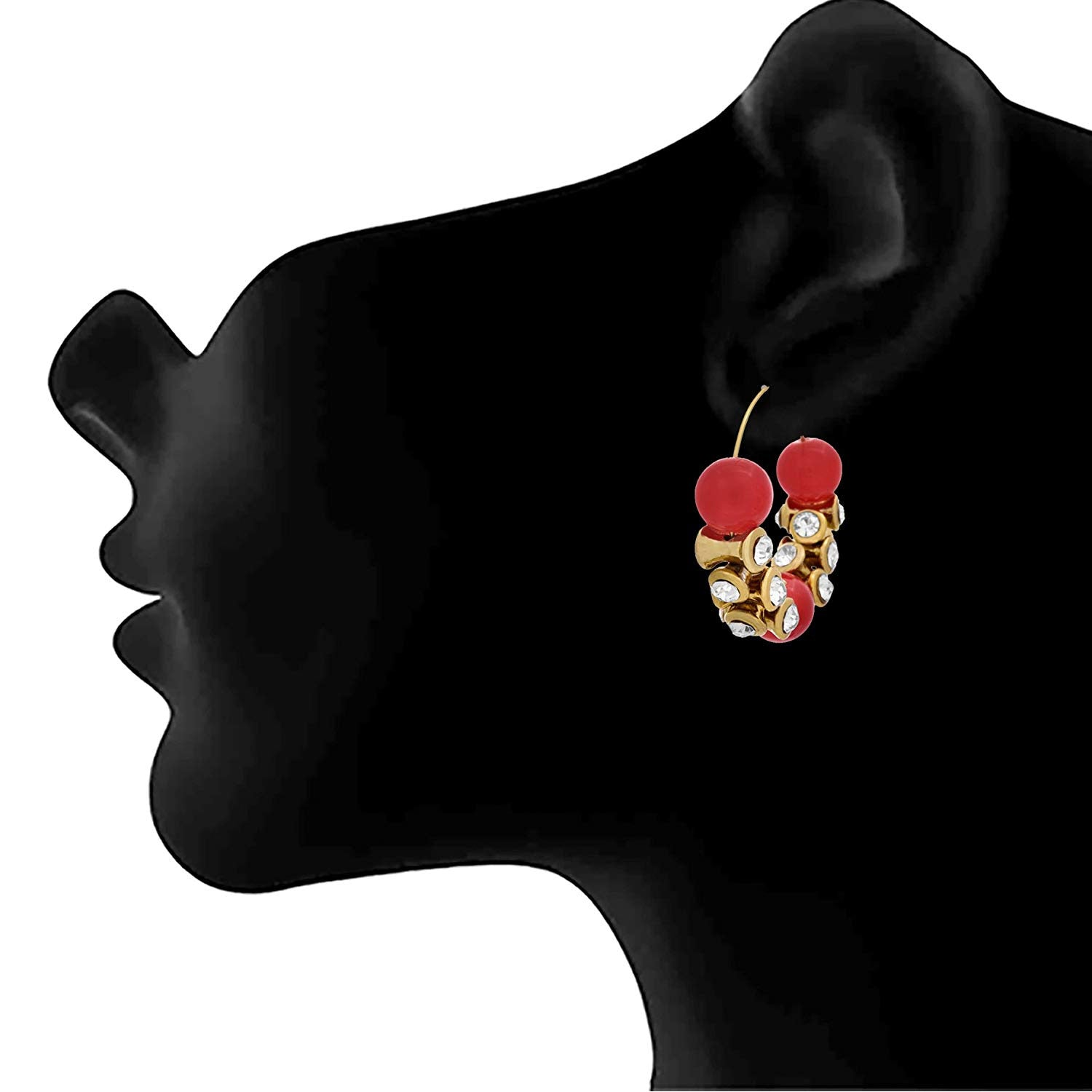 JFL -Traditional Ethnic One Gram Gold Plated Bead Diamond Designer Earring For Girls & Women.