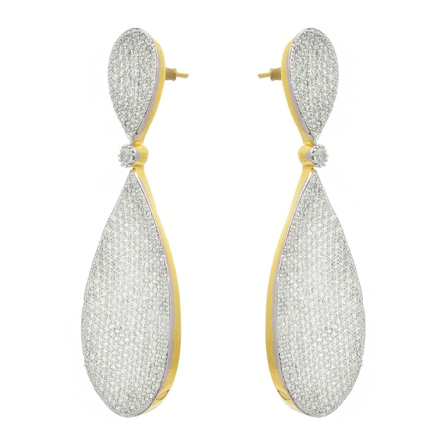 JFL - Fusion Ethnic One Gram Gold Plated Cz American Diamond Earrings For Women And Girls.
