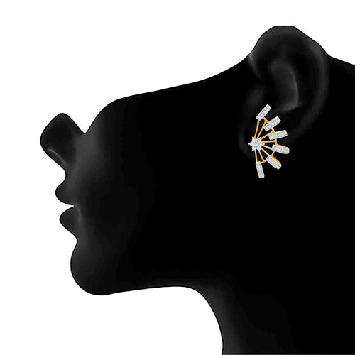JFL - Jewellery for Less Dazzling One gm Gold Plated American Diamond Earrings for Women