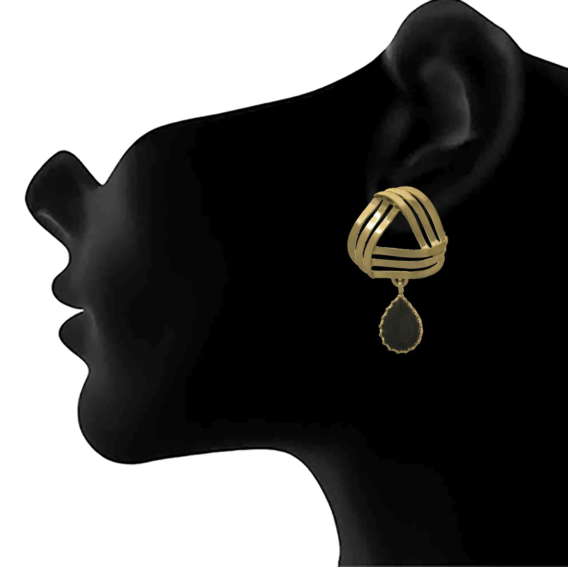 JFL - Jewellery for Less Traditional Ethnic One Gram Gold Plated Diamond Designer Earring For Women & Girls.