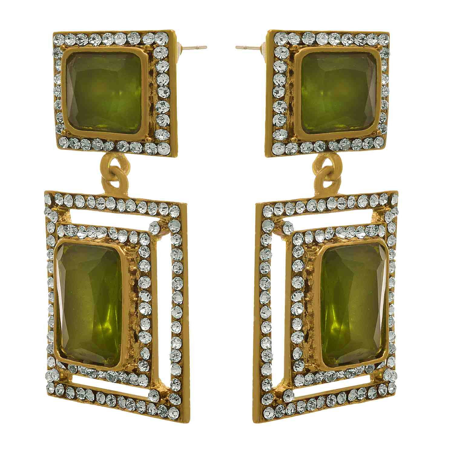 JFL - Fusion Bold Beautiful One Gram Gold Plated Crystal with Austrian Diamonds Designer Earrings Earring for Women & Girls.