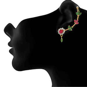 JFL - Jewellery for Less Traditional Ethnic One Gram Gold Plated Cz American Diamonds Designer Earcuff for Women & Girls