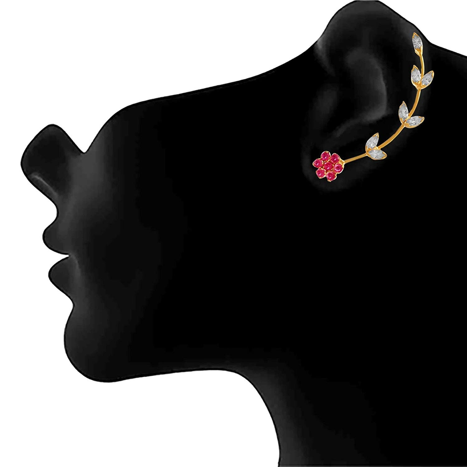 Traditional Ethnic Fusion One Gram Gold Plated Cz American Diamond Earcuff Earrings for Girls & Women