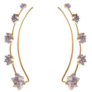 JFL - Traditional Ethnic Fusion Floral One Gram Gold Plated Cz American Diamond Earcuff Earrings for Girls & Women