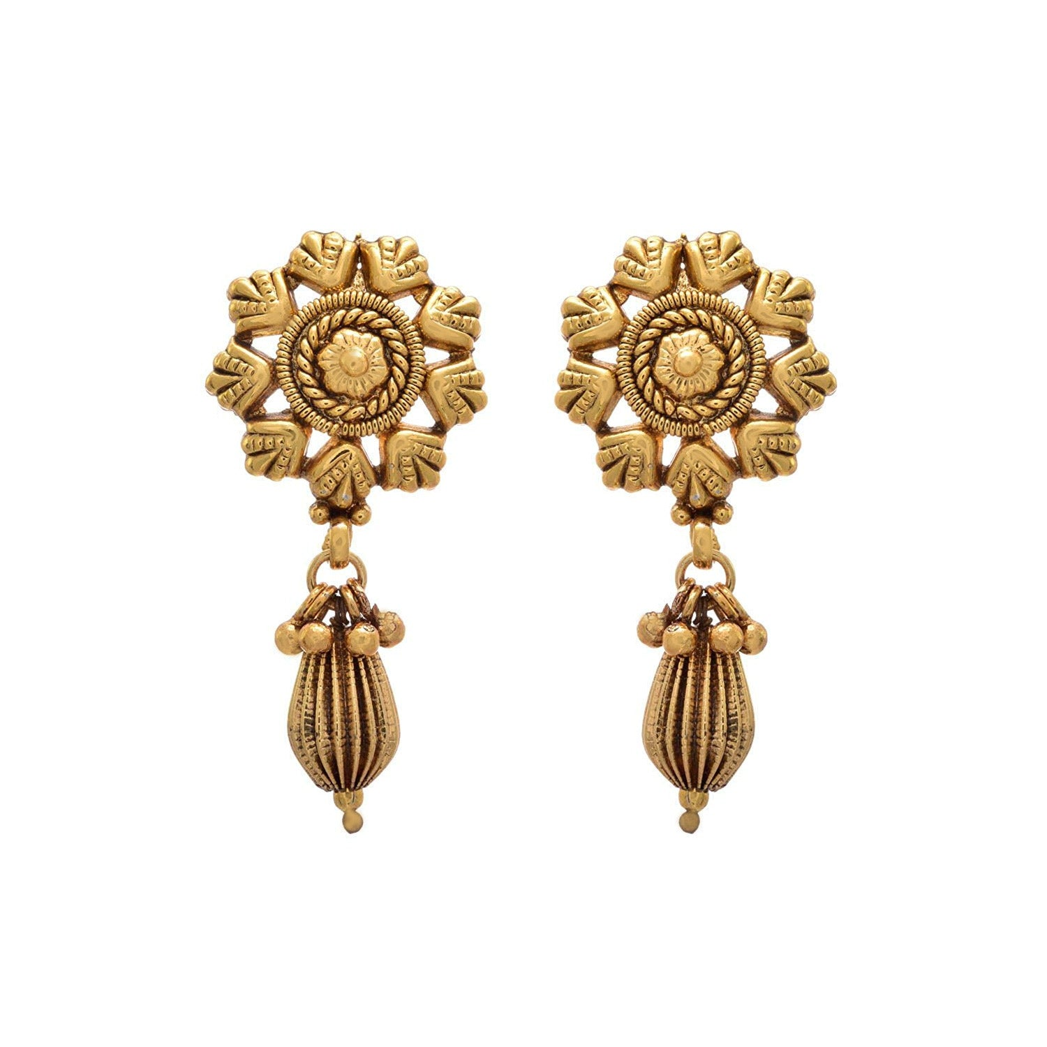 0eaf7a85e JFL - Traditional Ethnic Antique Floral One Gram Gold Plated Designer Stud  Earrings for Women and