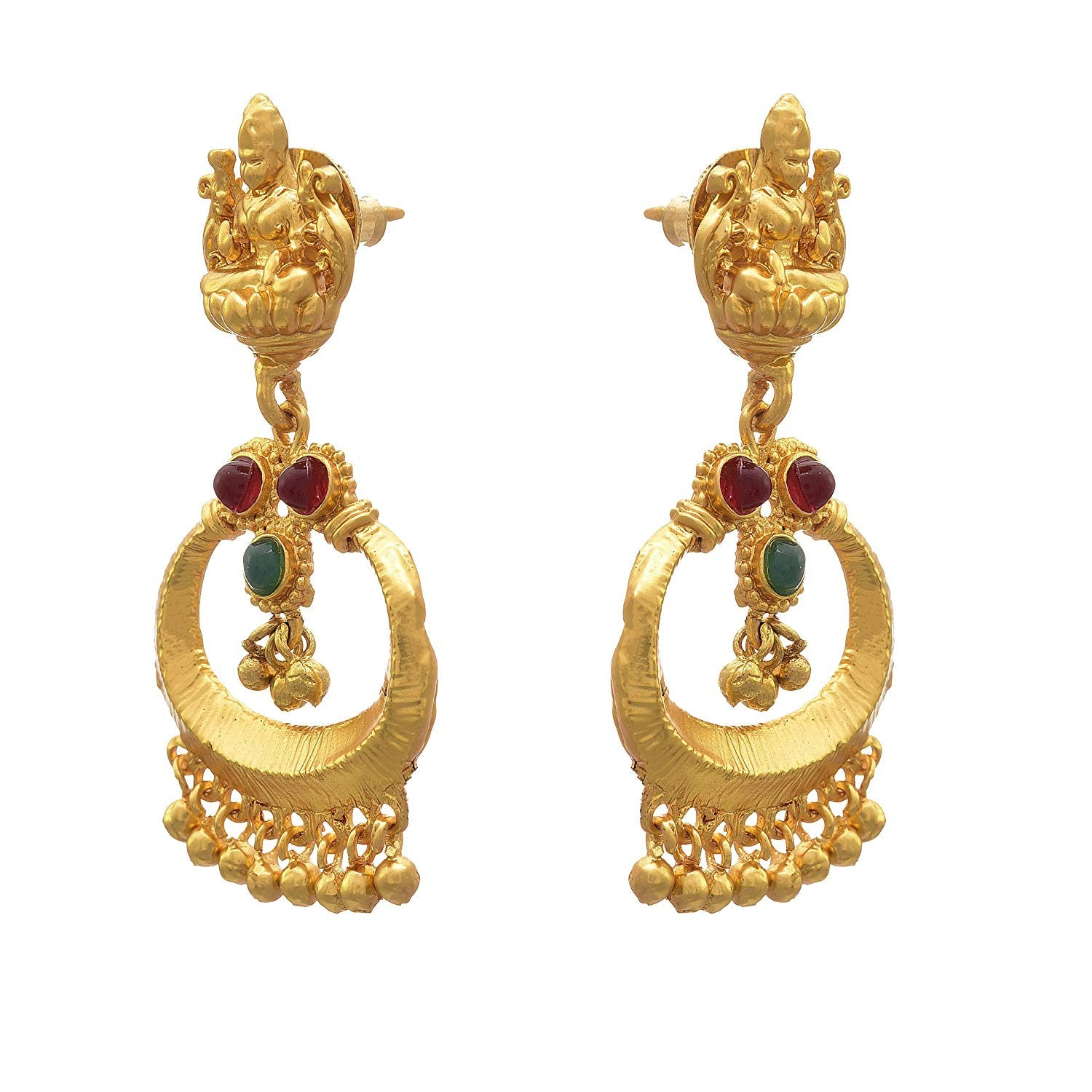 JFL -Traditional Ethnic One Gram Matt Gold Plated Temple Mahalaxmi Earrings for Women and Girls.
