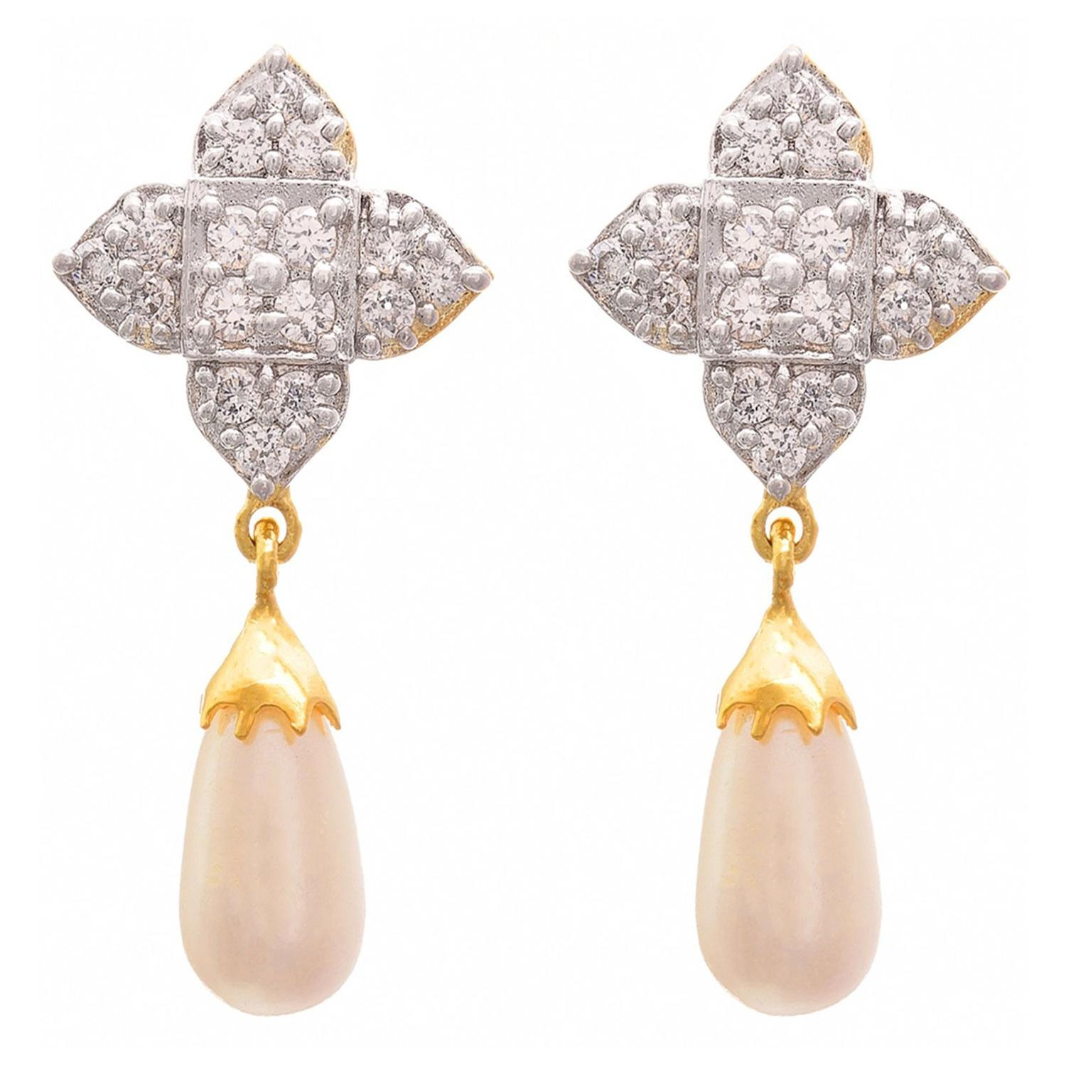 JFL - Fusion Ethnic One Gram Gold Plated Cz American Diamonds Pearl Designer Earrings for Women & Girls.