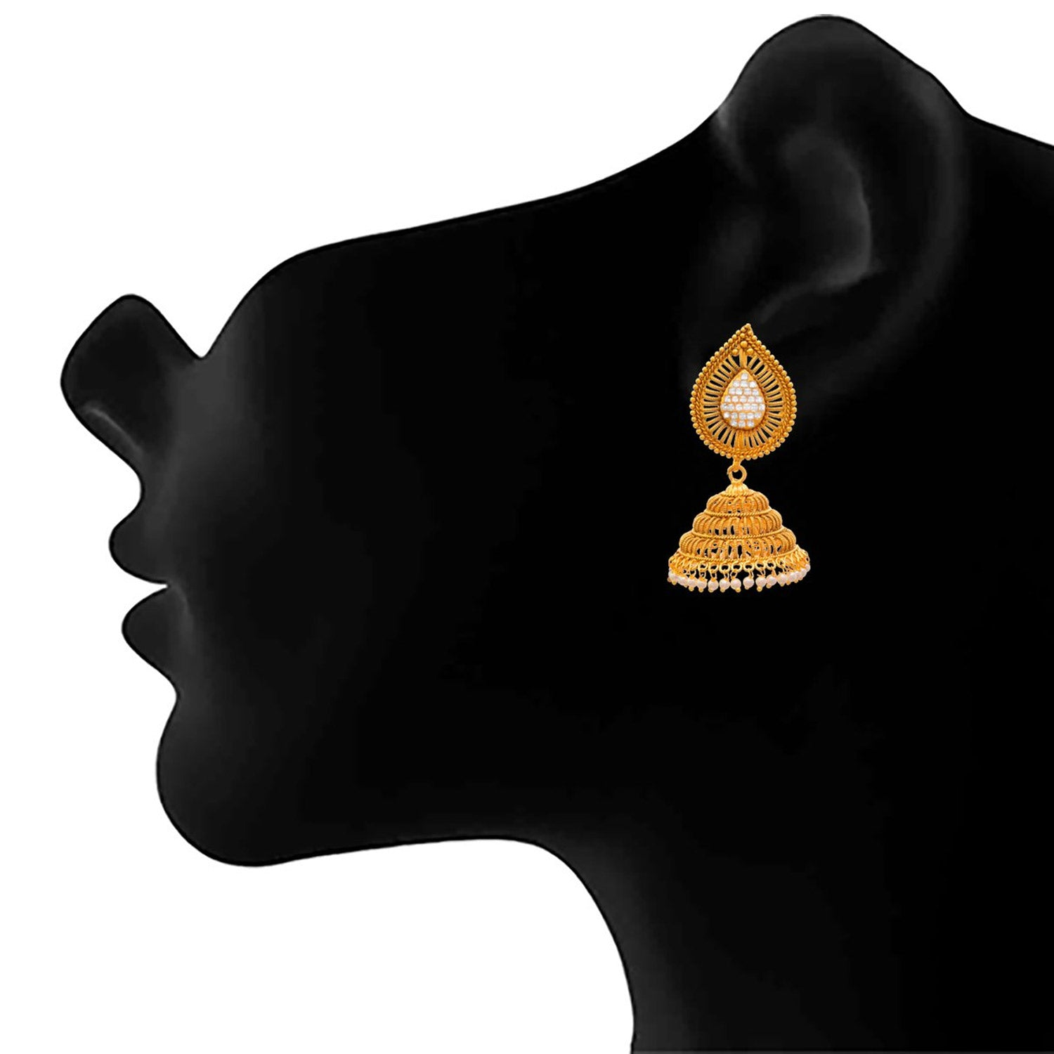 JFL - Traditional Ethnic One Gram Gold Plated Cz American Diamond Pearl Designer Jhumki Earring for Girls & Women