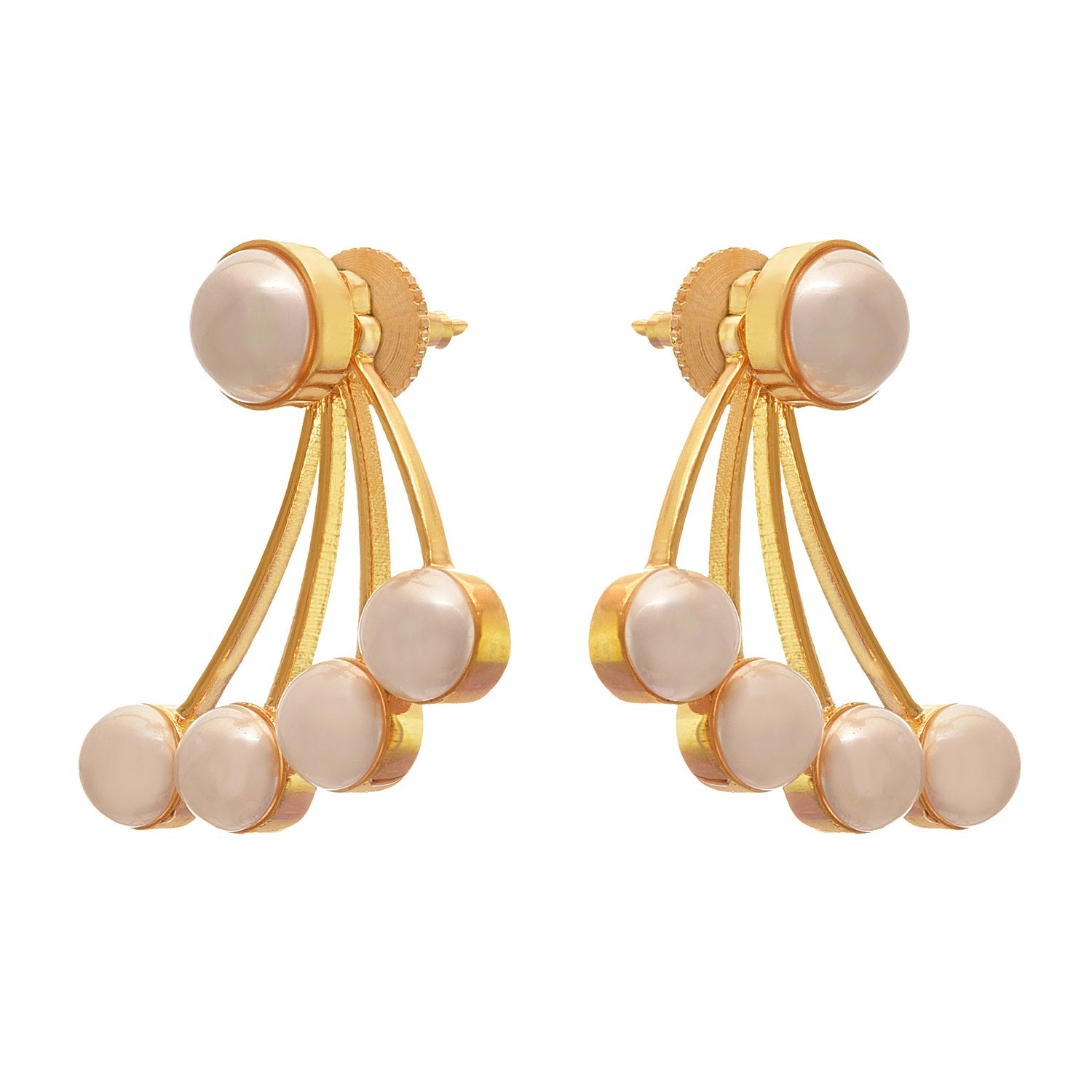 Traditional Ethnic One Gram Gold Plated Pearls Designer Earring for Women