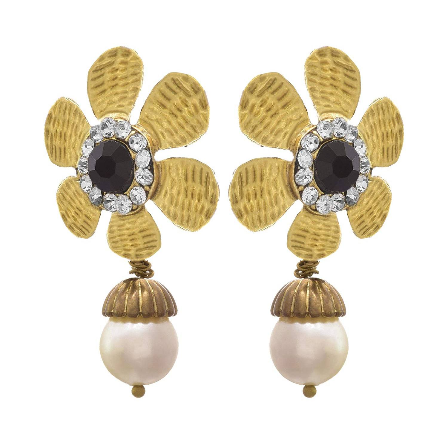 JFL - Fusion Ethnic One Gram Gold Plated Pearl & Diamond Designer Earring for Women & Girls.