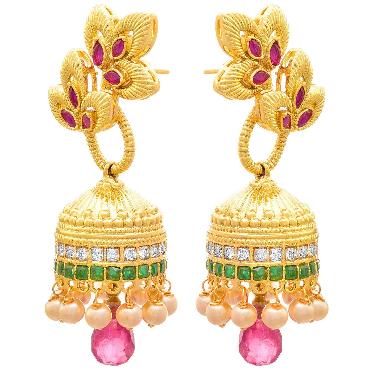 JFL - Traditional Ethnic One Gram Gold Plated Red & Green Stone Cz American Diamond Designer Jhumki Earring for Women & Girls