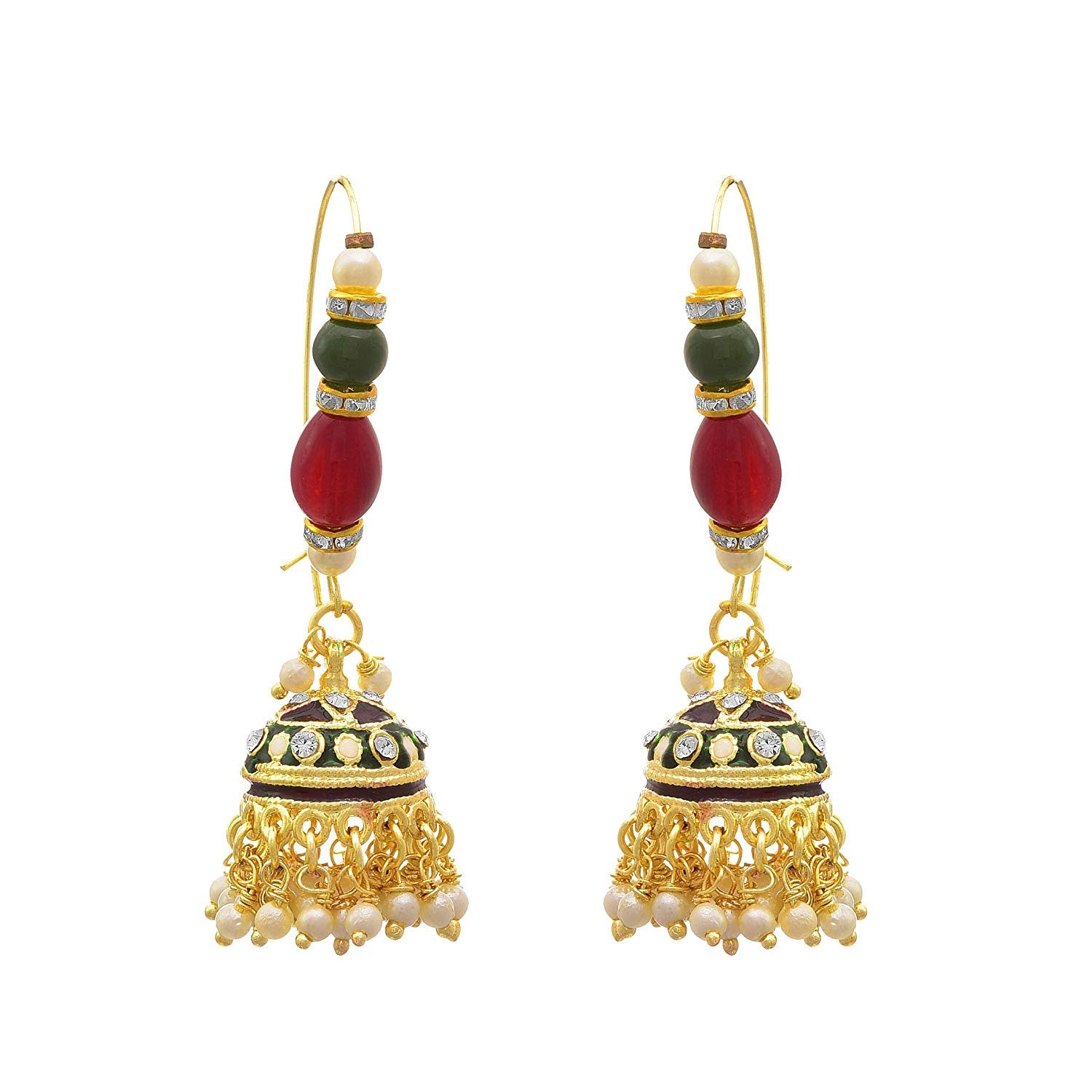 JFL - Jewellery for Less Traditional Ethnic One Gram Gold Plated Pearls Jhumki Earring For Women & Girls.