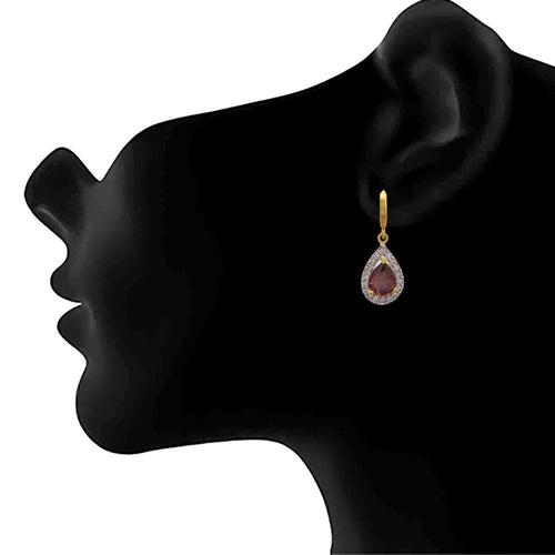 JFL - Fusion Ethnic One Gram Gold Plated American Diamond Designer Bali Earring for Women & Girls.