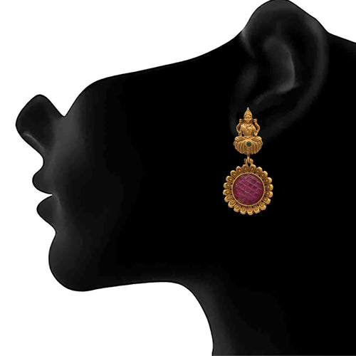JFL - Traditional Ethnic One Gram Matt Gold Plated Temple Laxmi Goddess Designer Earring for Women & Girls.