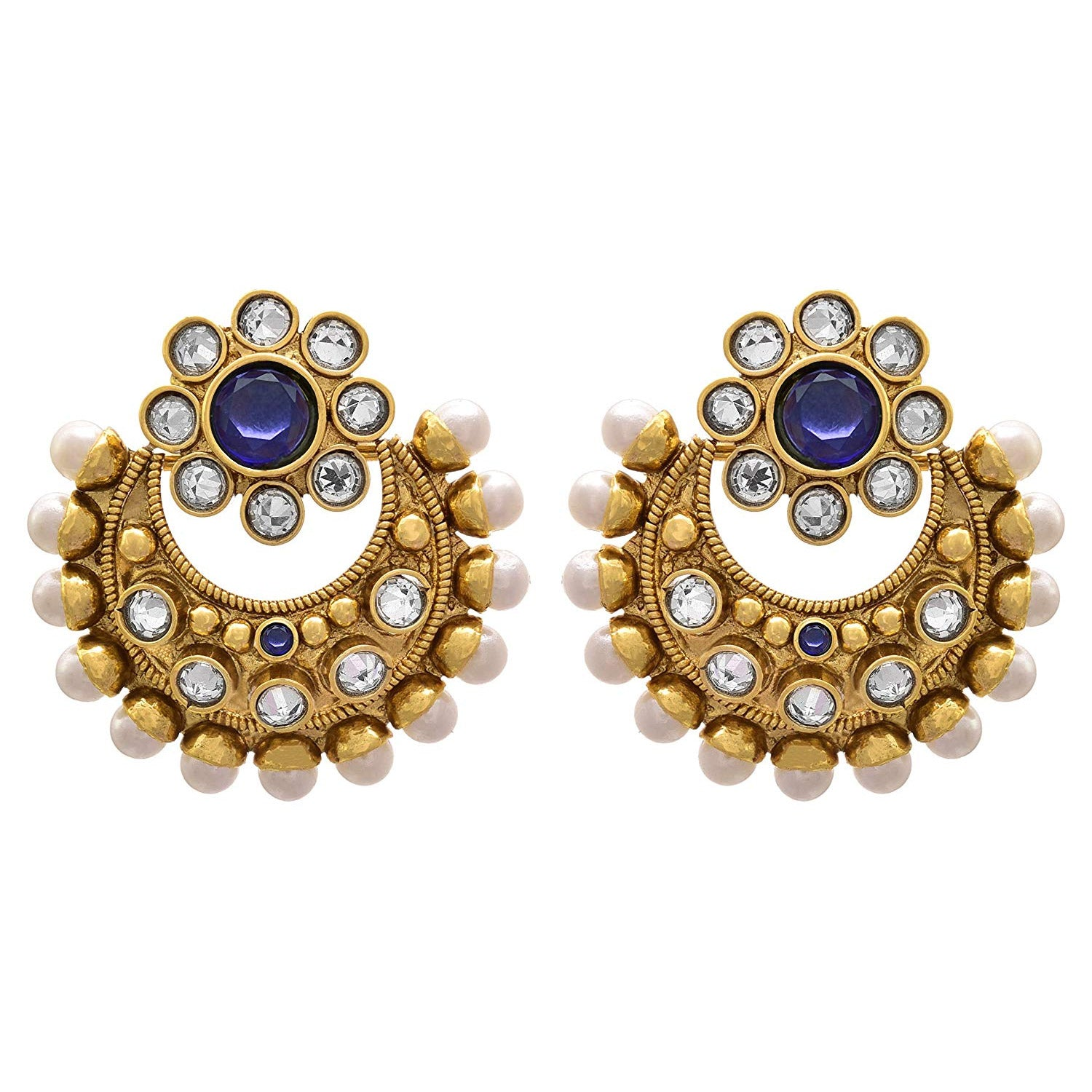 6d36b3955 JFL - Traditional Ethnic One Gram Gold Plated Diamond Pearls Designer  Earring for Women & Girls