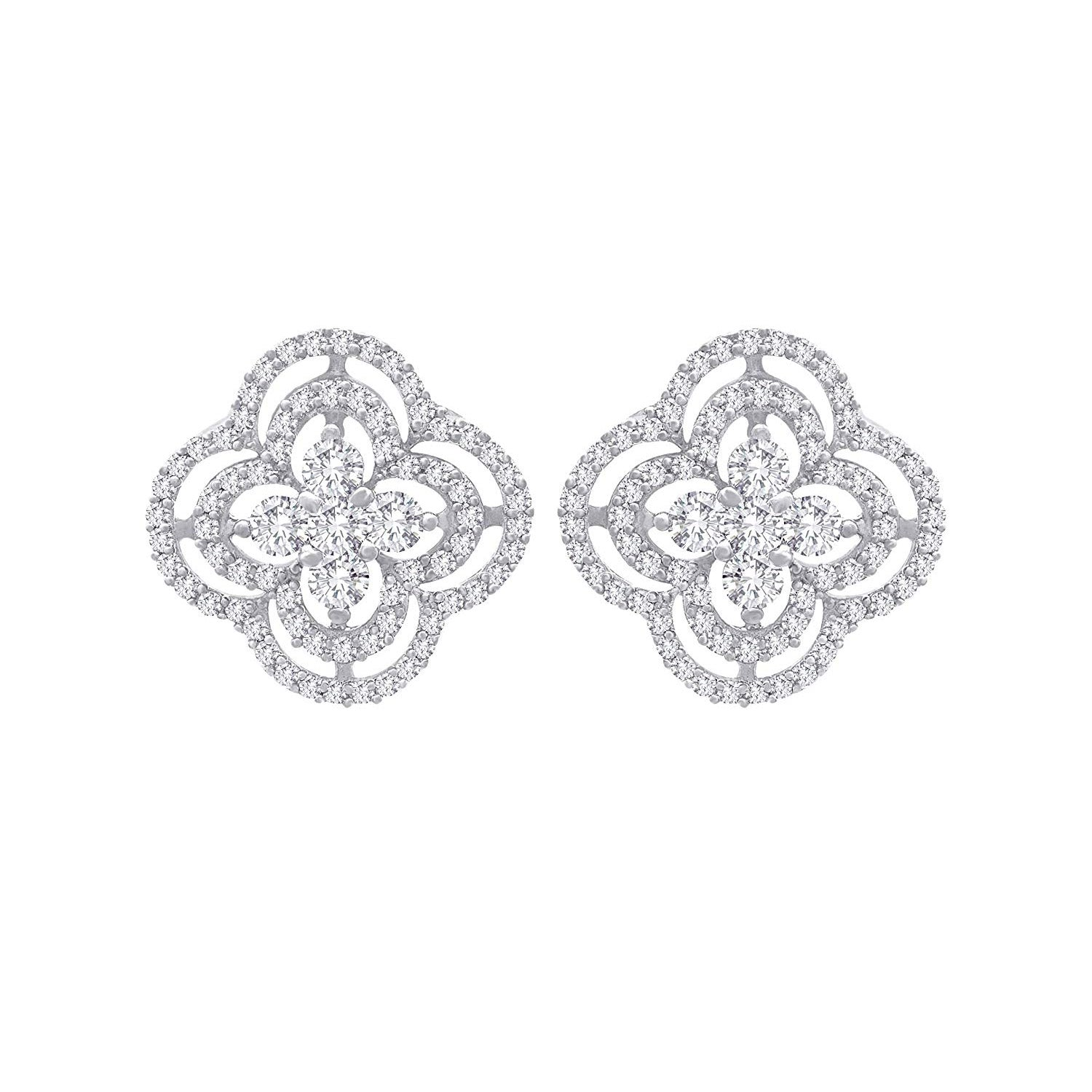 JFL- Fusion Ethnic One Gram Gold Plated Cz American Diamond Designer Stud Earrings for Women & Girls.