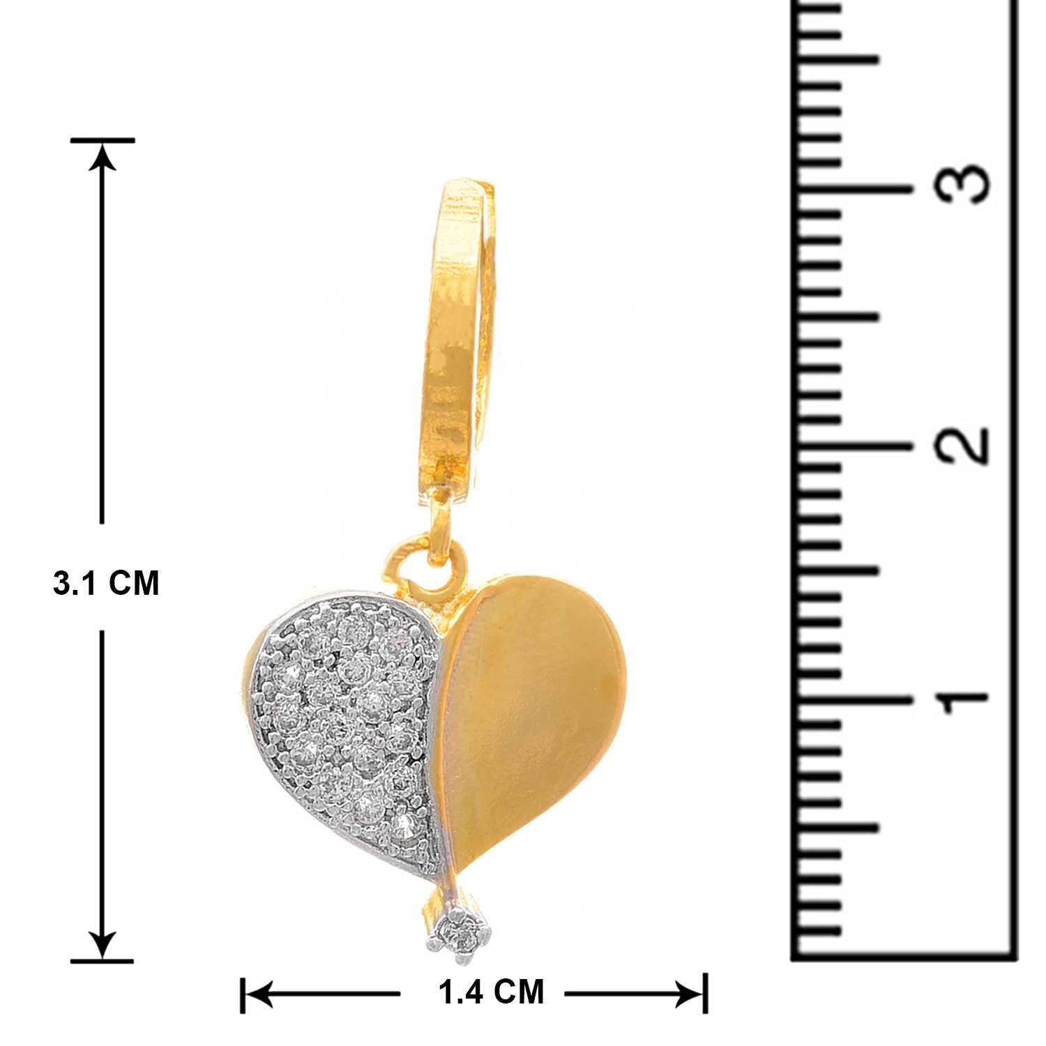 JFL - Fusion Ethnic One Gram Gold Plated Cz American Diamond Heart Shape Designer Earring for Girls and Women.