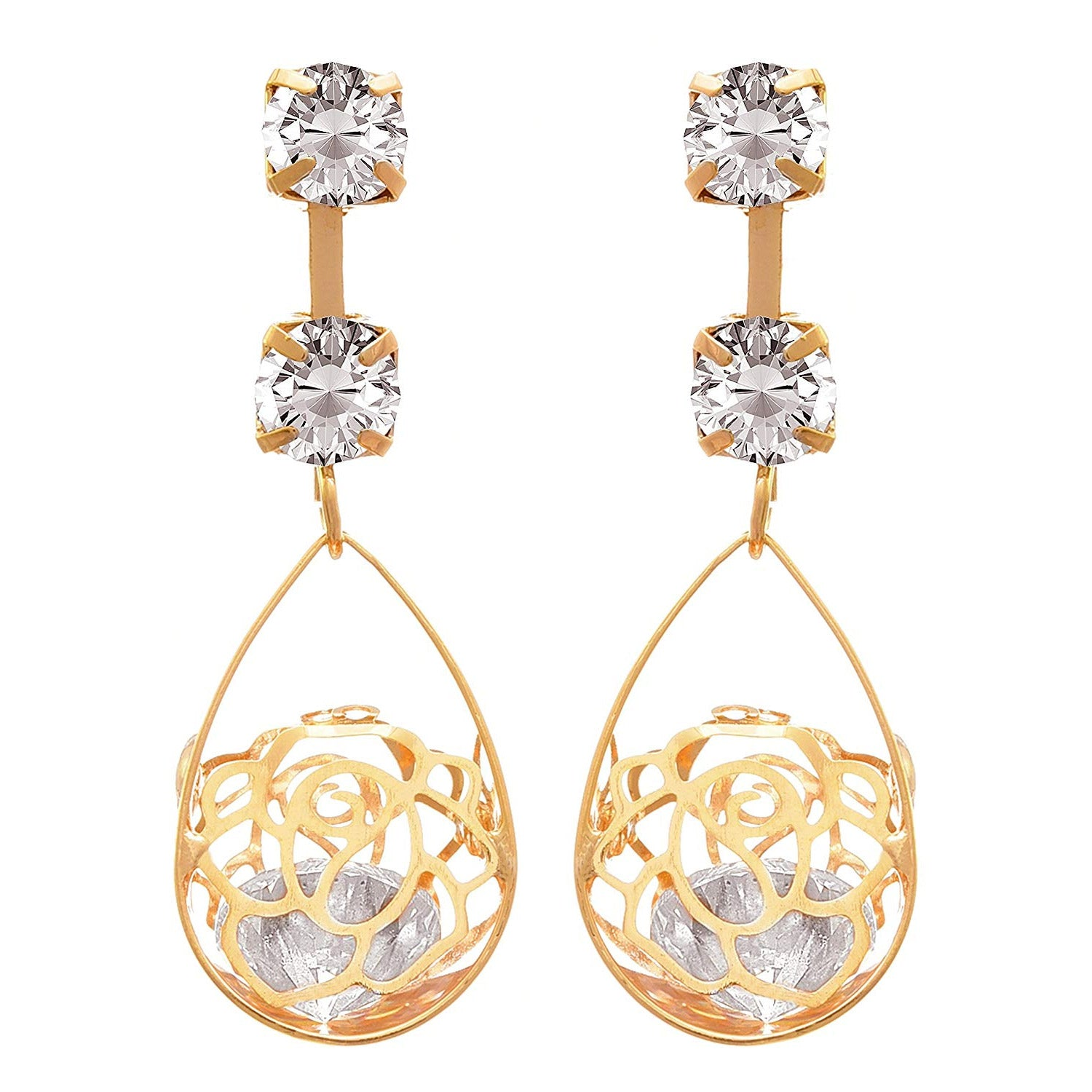 JFL - Traditional Ethnic One Gram Gold Plated Cz American Diamond Designer Earring For Women & Girls.