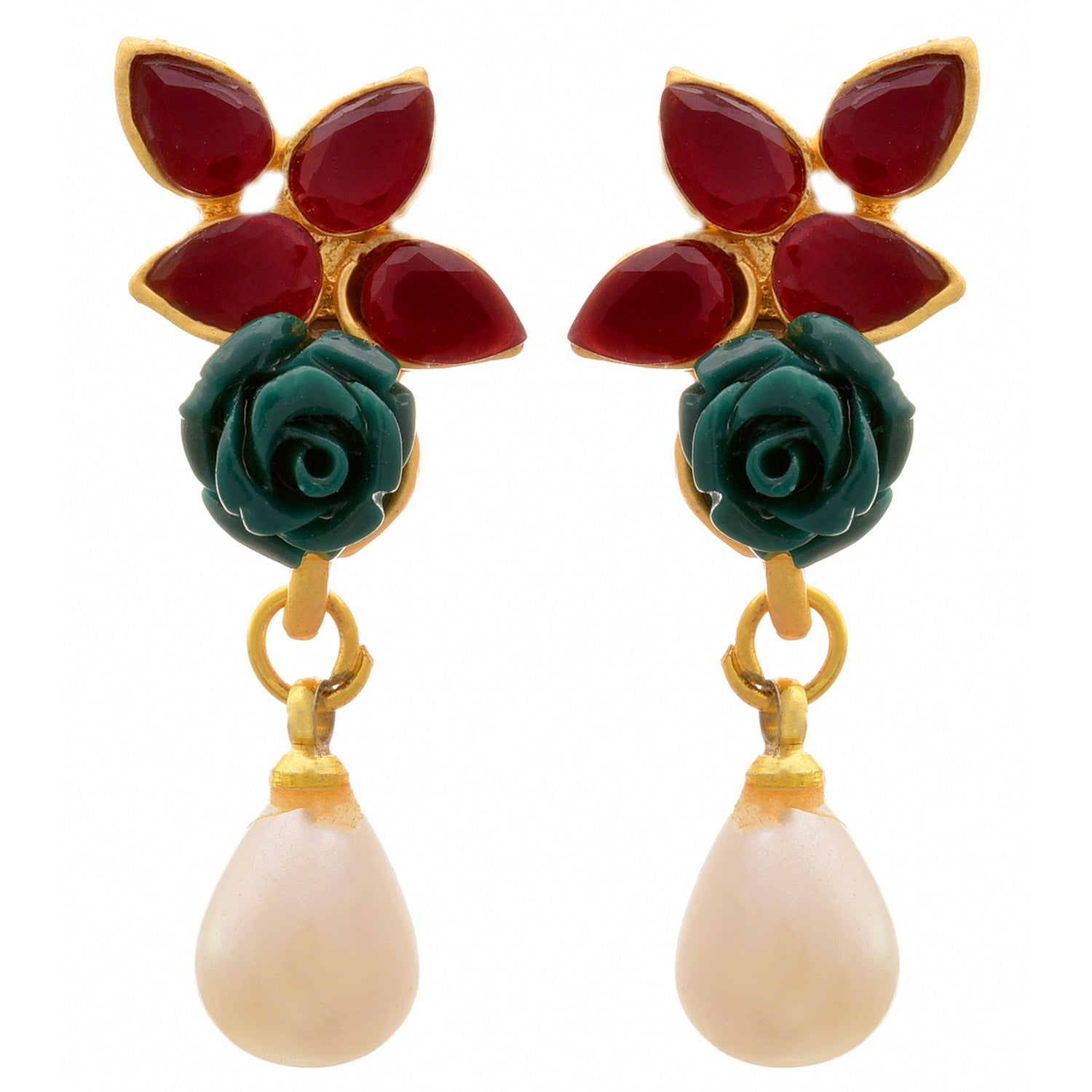 JFL - Traditional Ethnic One Gram Gold Plated Stone & Pearl Rose Designer Earring for Girls and Women.