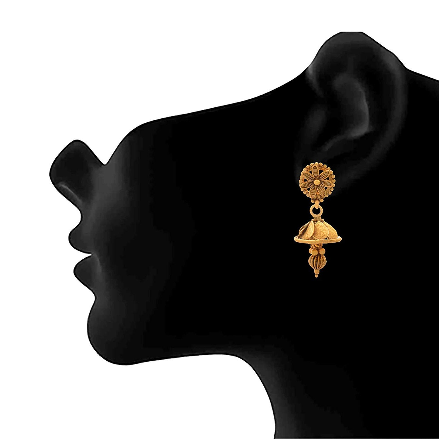 JFL- Traditional Ethnic One Gram Gold Plated Temple Laxmi Goddess Coin Jhumki Earrings For Women And Girls.