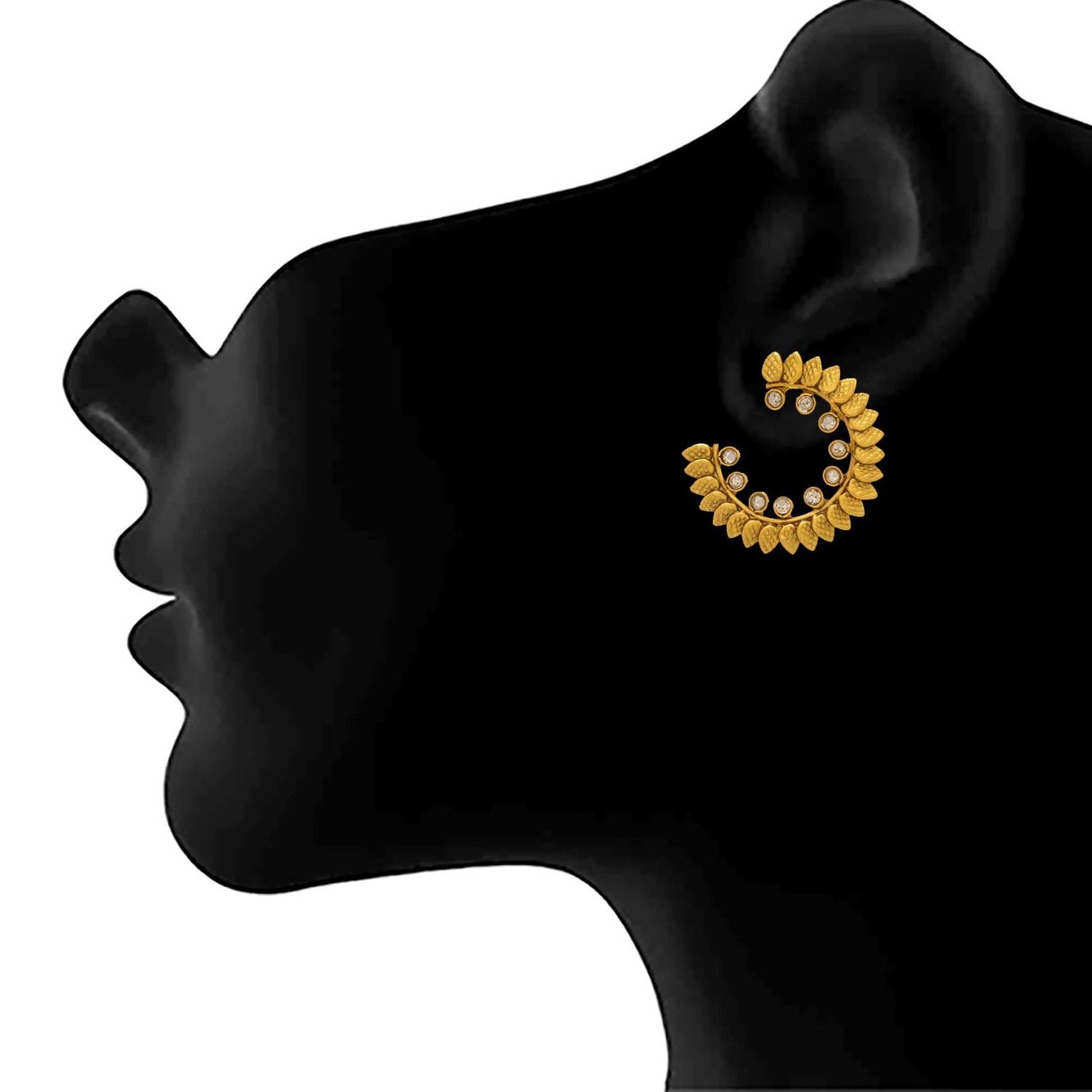 JFL - Traditional Ethnic One Gram Gold Plated Diamond Designer Earring for Women & Girls.