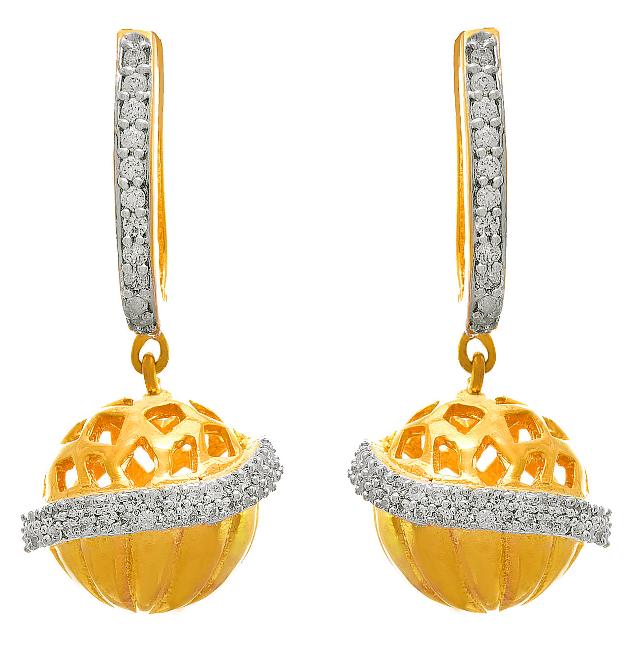 JFL - Jewellery for Less Traditional Ethnic One Gram Gold Plated American Diamond Earring For Women & Girls.