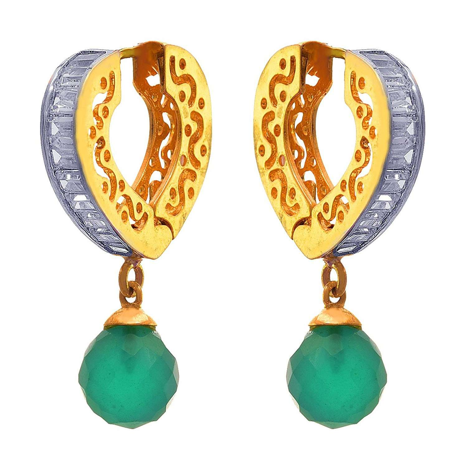JFL - Fusion Ethnic One Gram Gold Plated Diamond Designer Earring for Women and Girls.