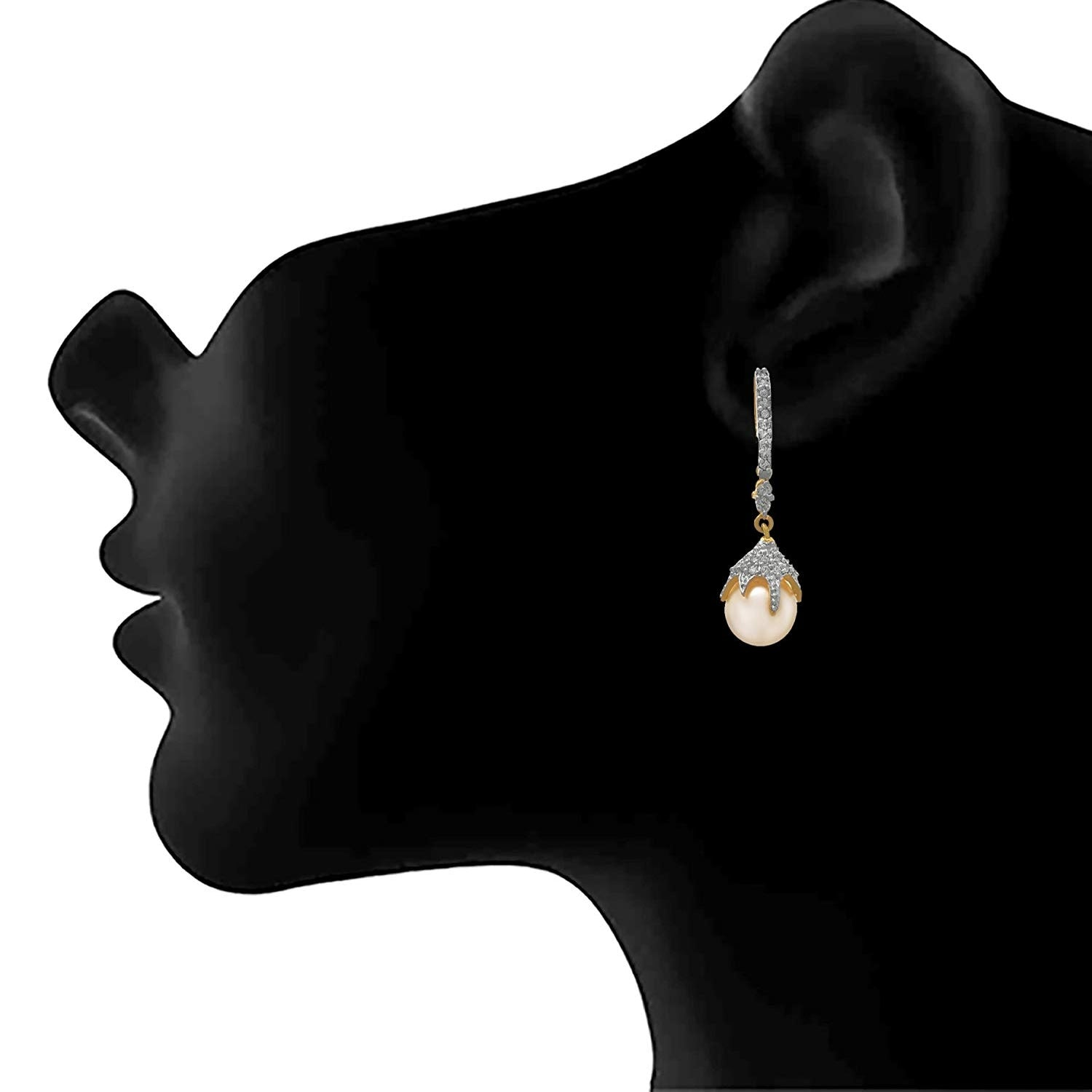JFL - Fusion Ethnic One Gram Gold Plated Cz American Diamond & Pearl Designer Earring for Girls and Women.
