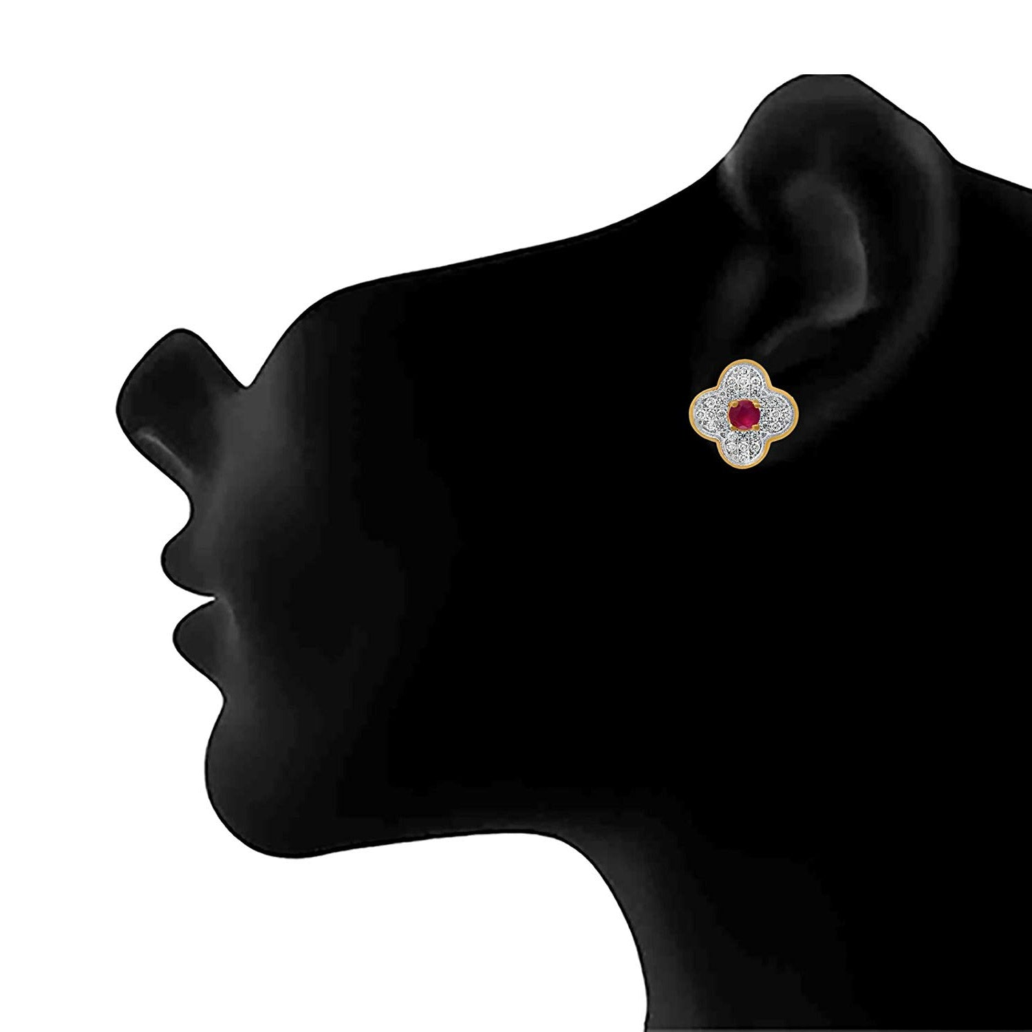 JFL - Jewellery for Less Fusion Ethnic One Gram Gold Plated American Diamond Multi-Color Changeable Stone Designer Stud Earring for Women & Girls