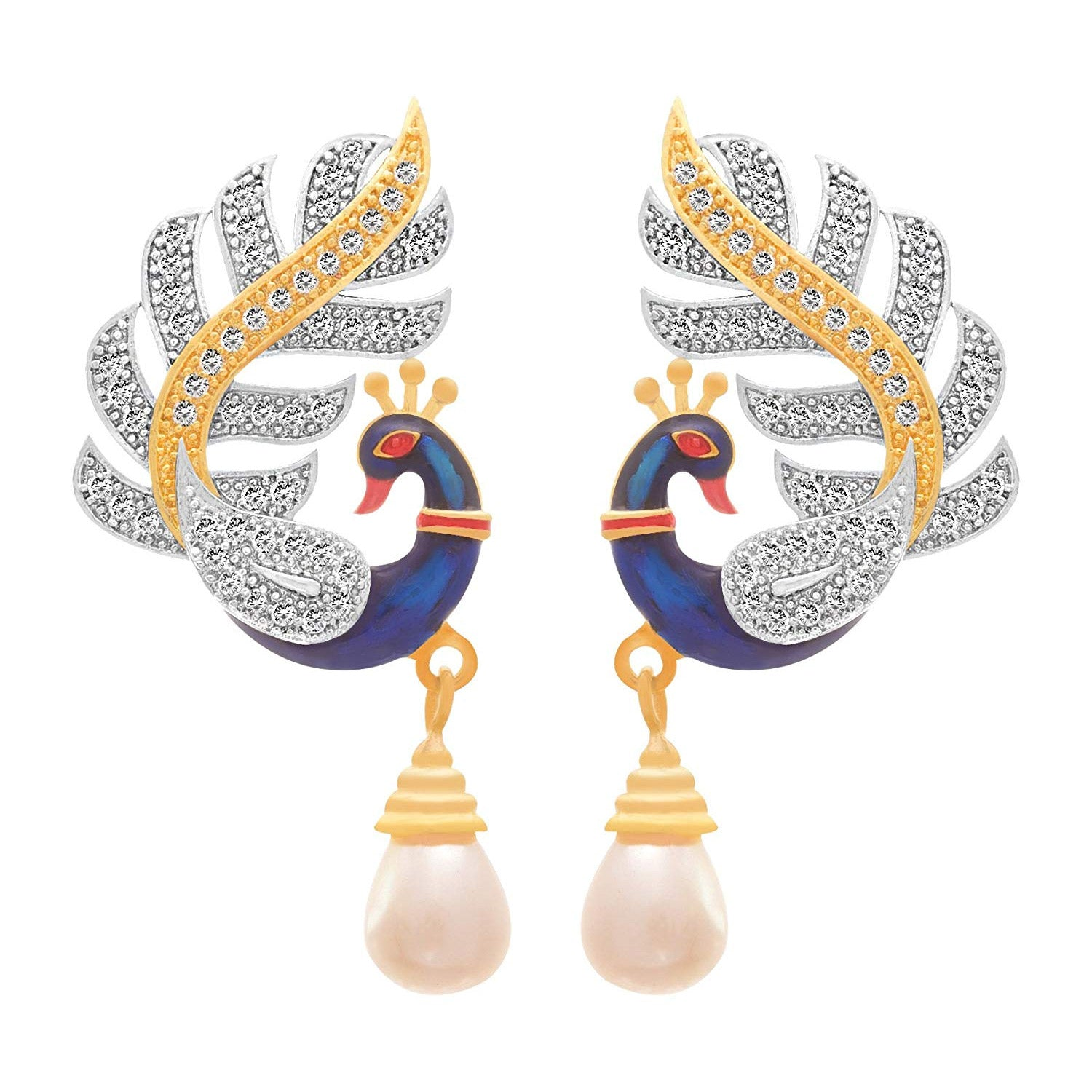 JFL- Fusion Ethnic One Gram Gold Plated Red and Blue Meenakari Enamel Peacock Cz American Diamond Designer Earrings for Women and Girls.