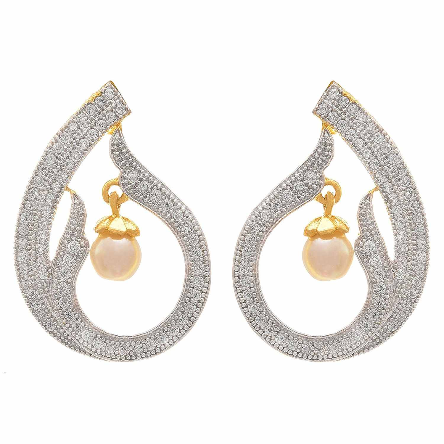 JFL - Fusion Ethnic One Gram Gold Plated Cz American Diamond Designer Earring with Pearl for Women & Girls