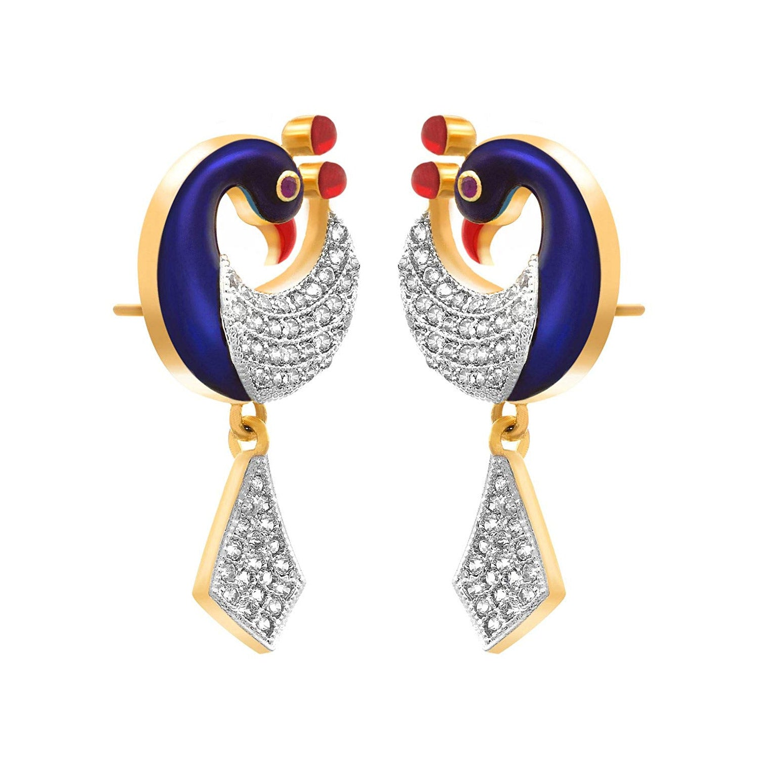 JFL- Fusion Ethnic One Gram Gold Plated Meenakari Enamel Peacock Cz American Diamond With Red / Gold Crest Designer Earrings for Women & Girls