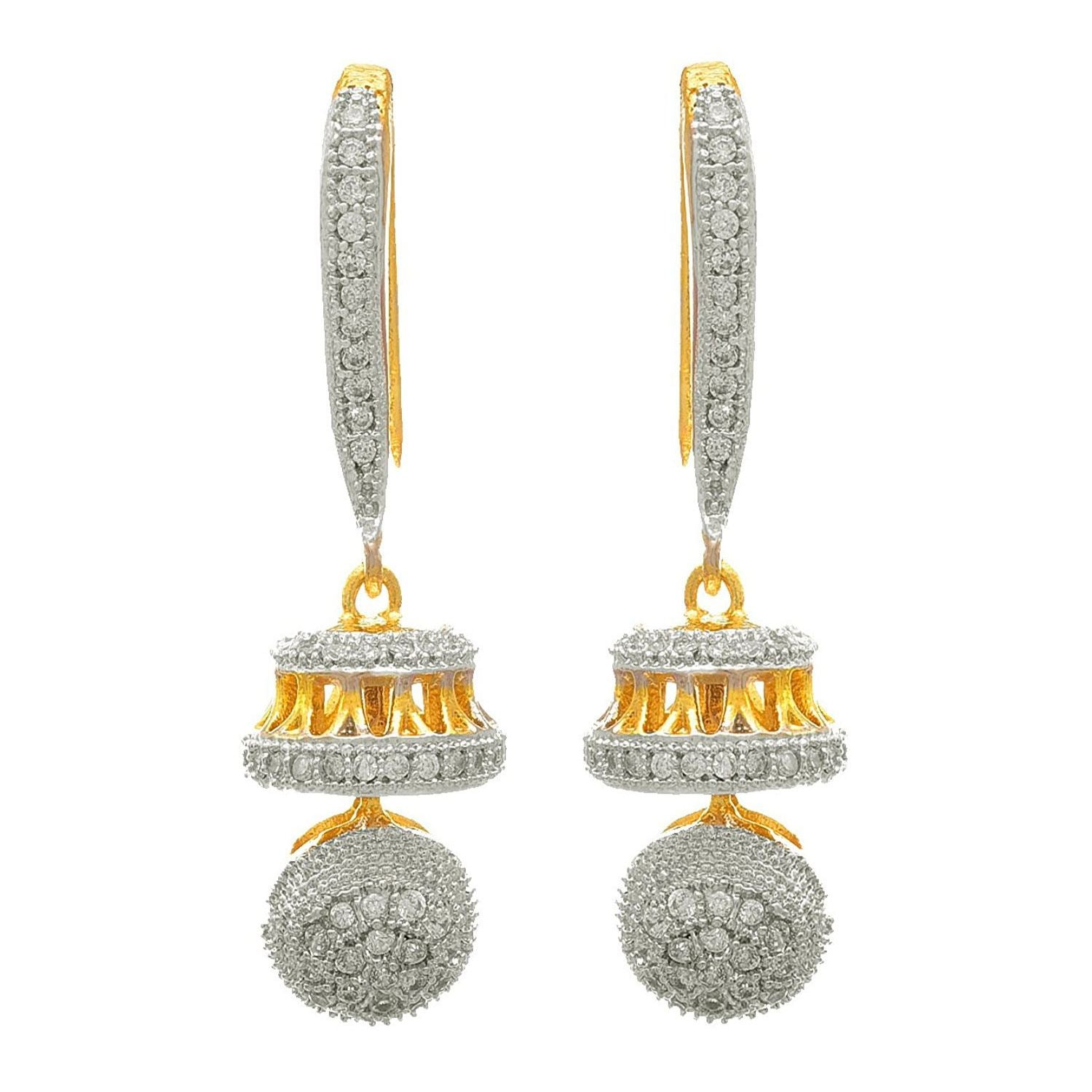 JFL - Fusion Ethnic One Gram Gold Plated Cz American Diamond Designer Jhumki Earring for Women & Girls
