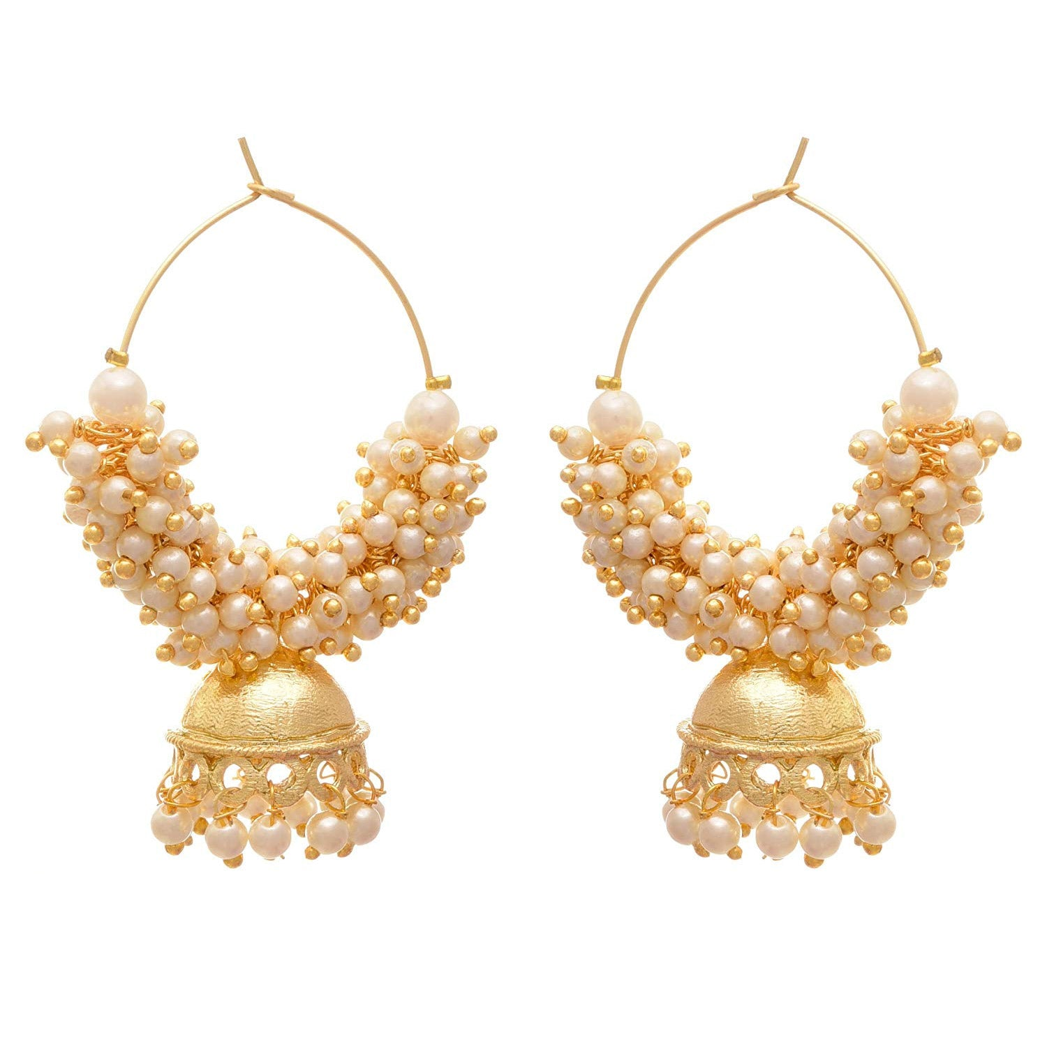 JFL - Traditional Ethnic Fusion One Gram Gold Plated Pearl Designer Bali Jhumka Earring for Women & Girls