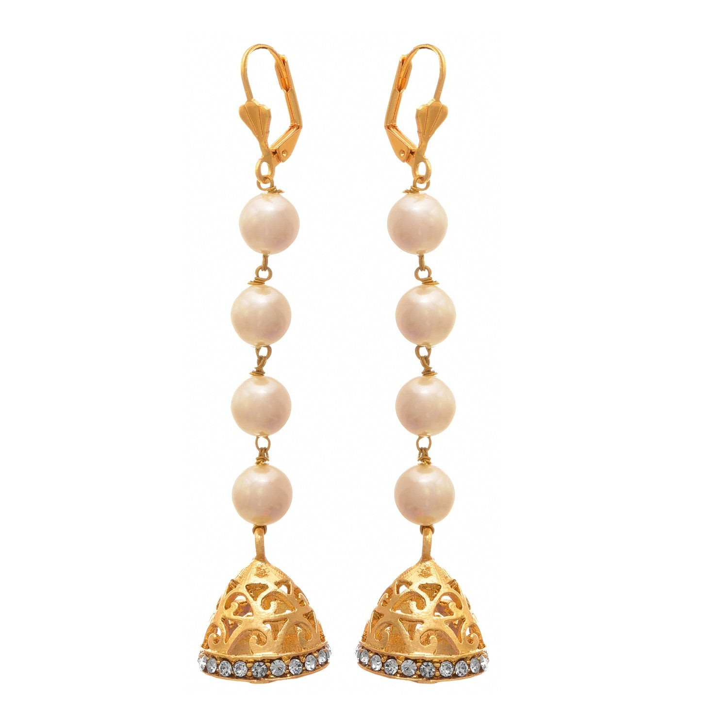 JFL - Traditional Fusion One Gram Gold Plated Pearl Diamond Designer Earring for Girls and Women.
