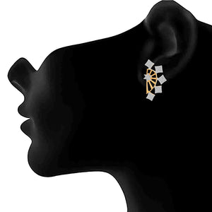 JFL - Traditional Ethnic Fusion Cz American Diamond One Gram Gold Plated Earcuff Earrings for Girls & Women - Two in One