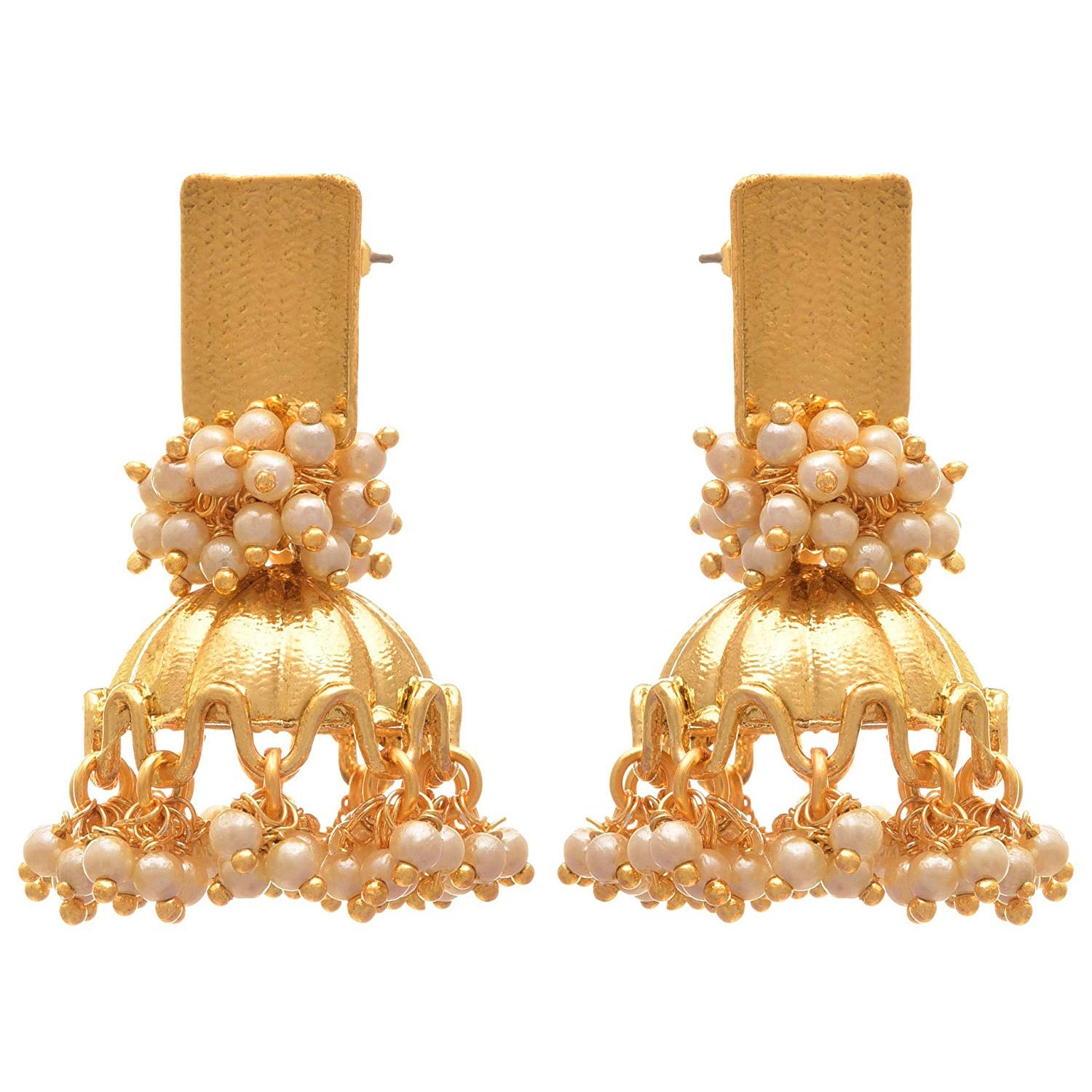 JFL - Traditional Ethnic & Fusion One Gram Gold Plated Pearl Designer Jhumka Earring for Women & Girls