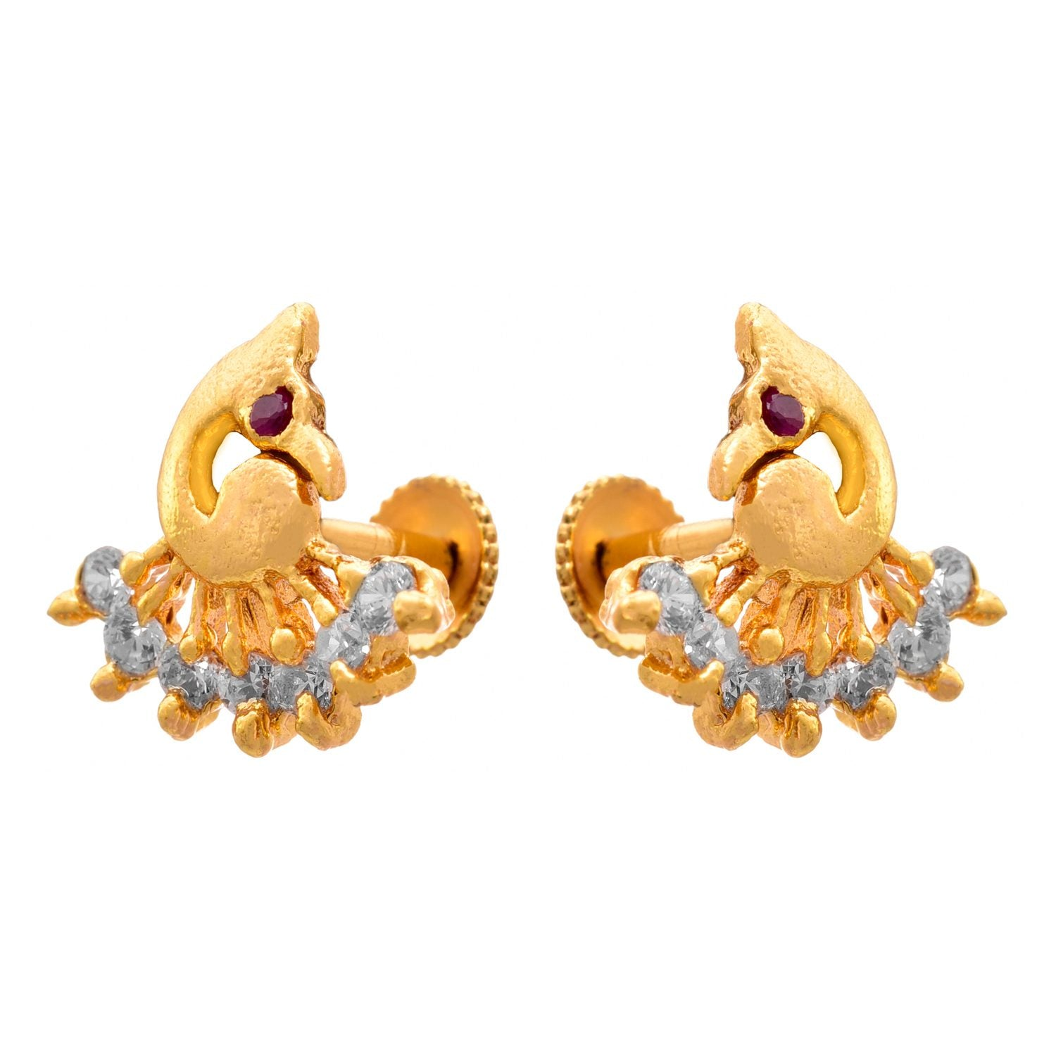 JFL- Traditional Ethnic One Gram Gold Plated Diamond Designer Stud Earrings for Women & Girls.