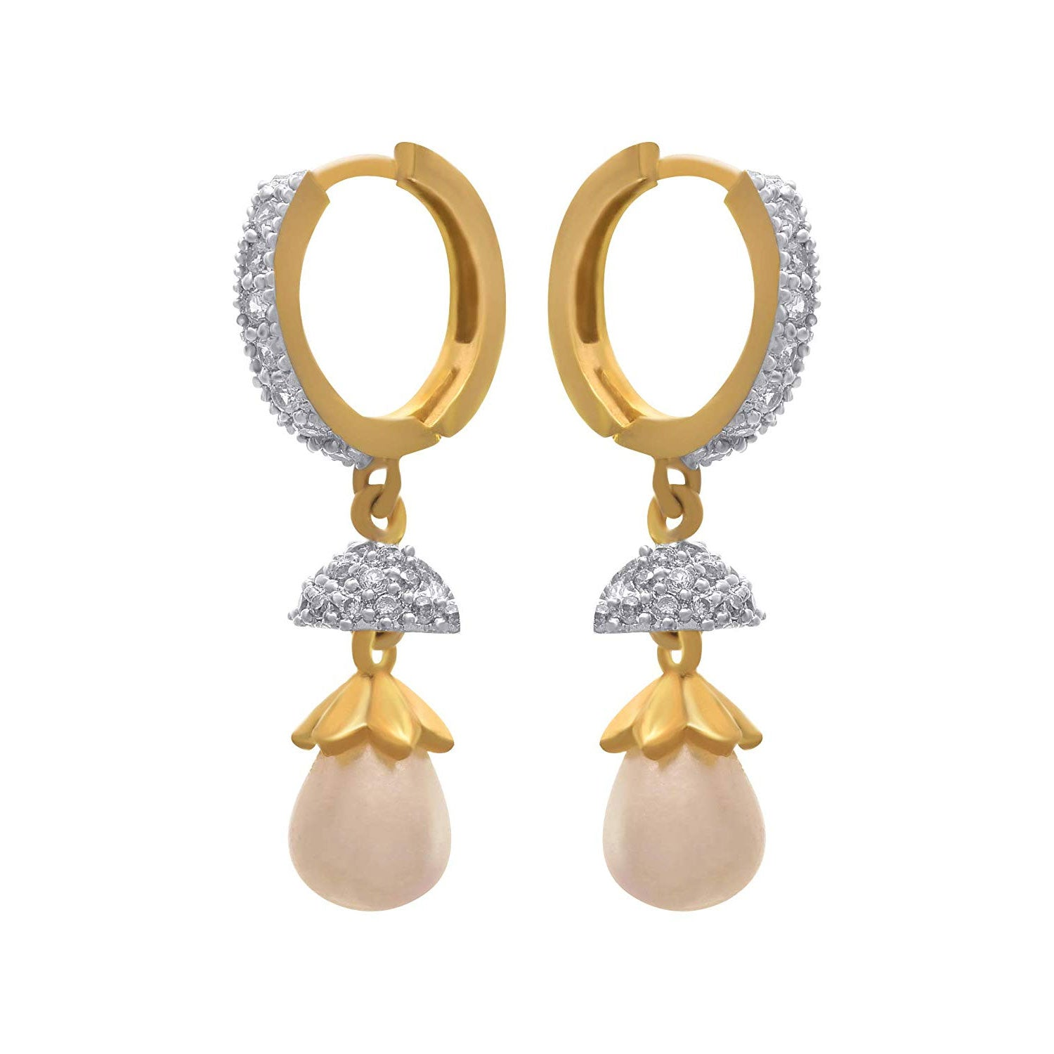 JFL - Fusion Traditional Ethnic One Gram Gold Plated American Diamond Pearl Designer Earrings Women and Girls.