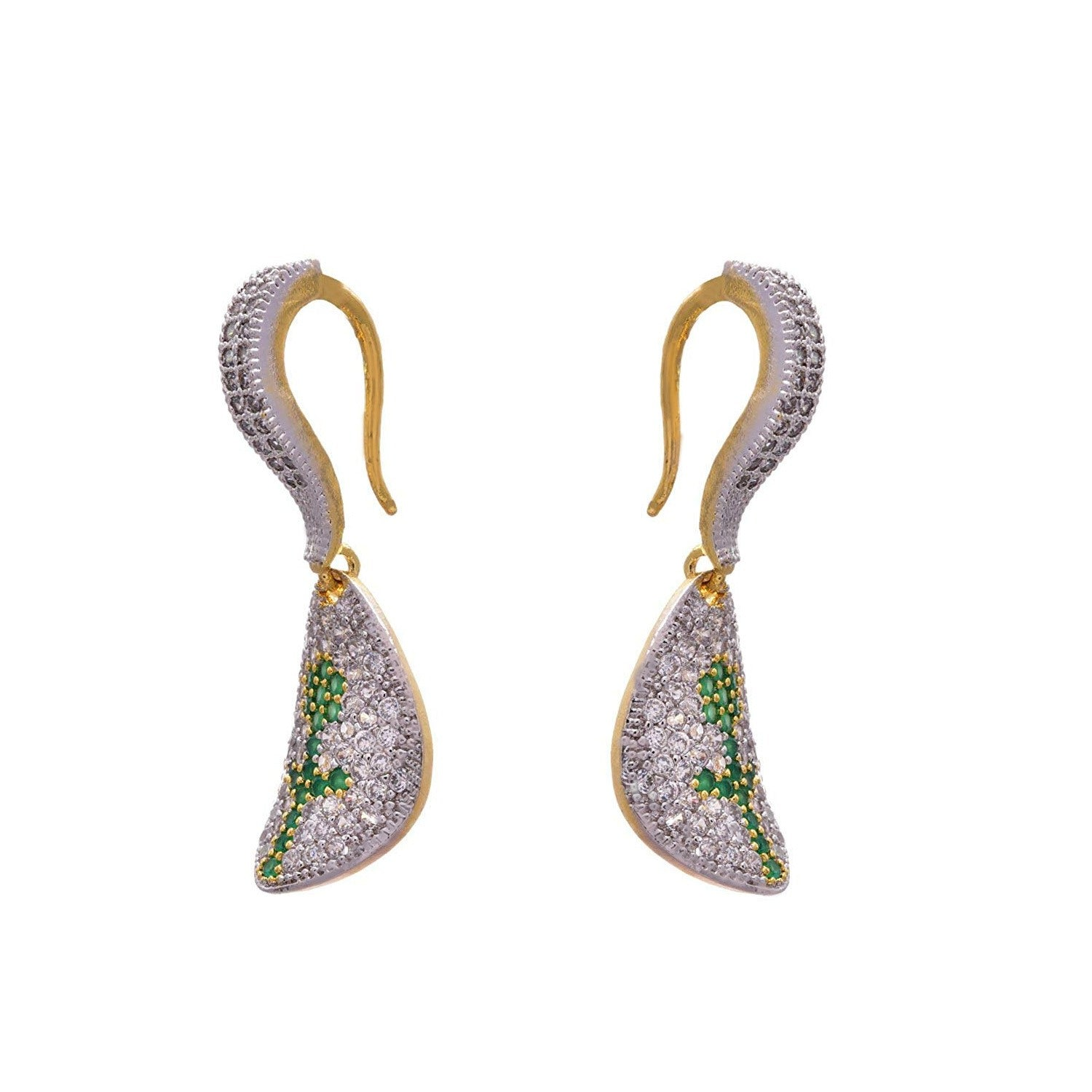 JFL - Ethnic Fusion One Gram Gold Plated Cz American Diamonds Designer Earring for Girls & Women