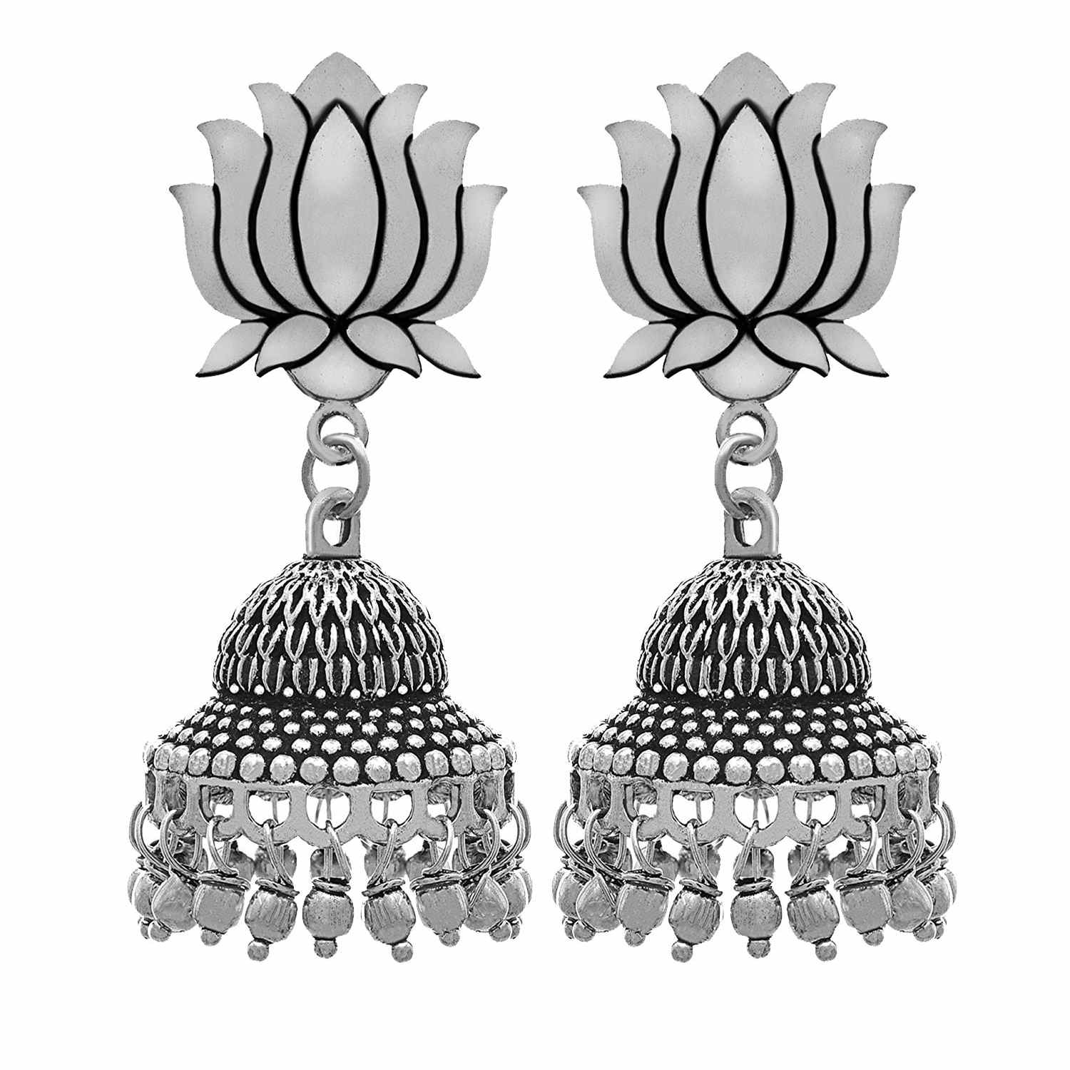 Traditional Ethnic Fusion Handmade German Silver Plated Oxidised Lotus Jhumka Earring For Women