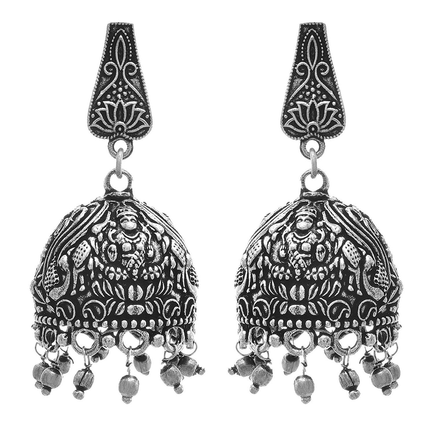 JFL - Traditional Ethnic Fusion Handmade German Silver Plated Oxidised Designer Jhumka Jhumki Earring for Women & Girls