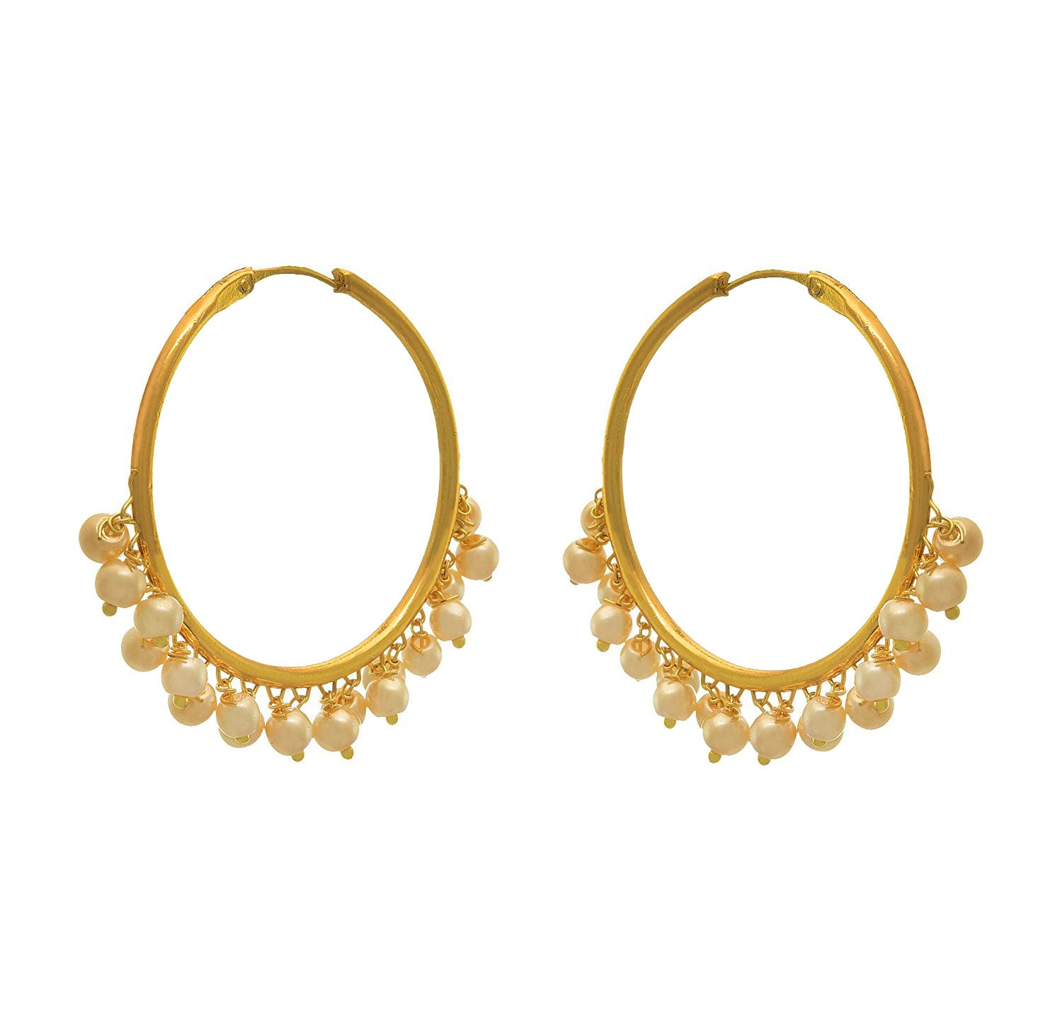 JFL- Traditional Ethnic Fusion One Gram Gold Plated Pearls Designer Bali Earring for Women