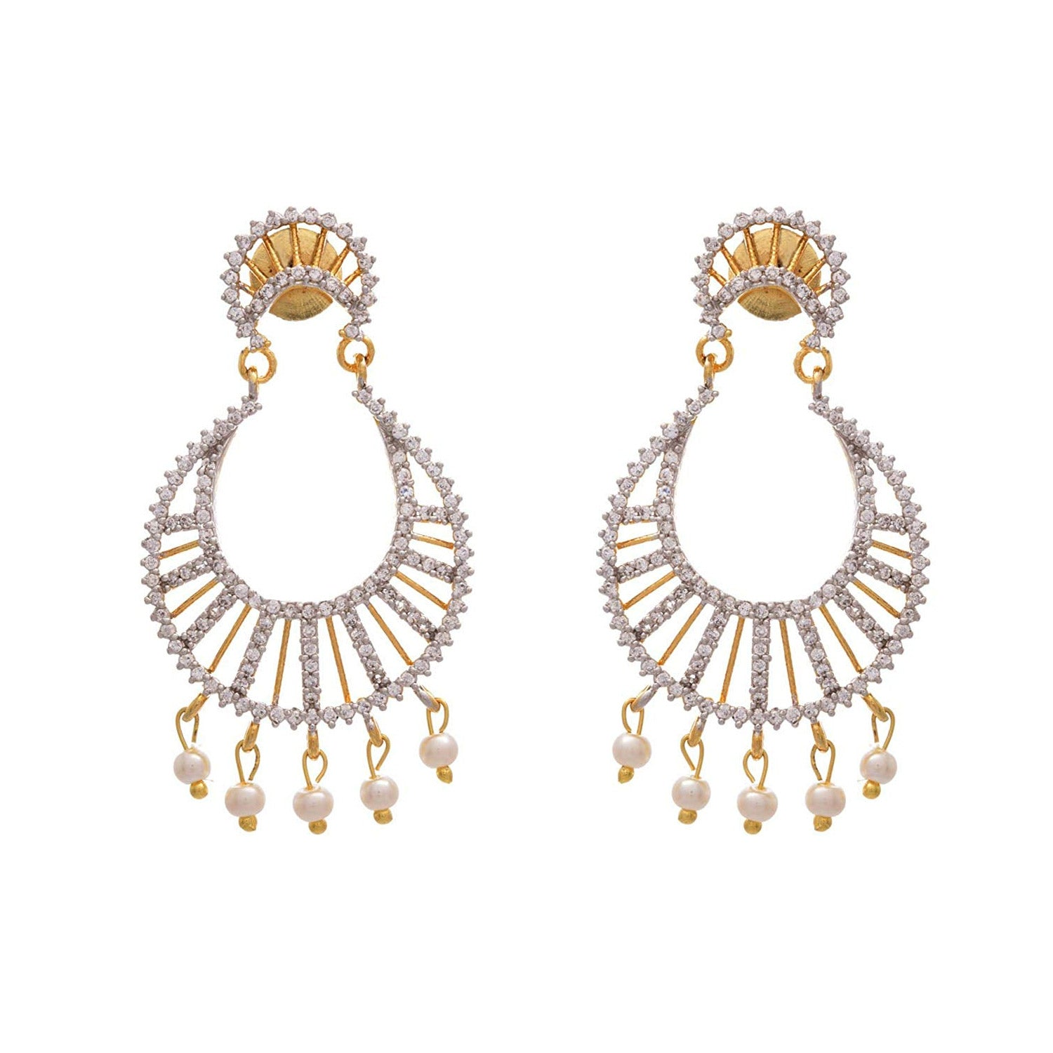JFL - Traditional Ethnic Fusion Cz American Diamond One Gram Gold Plated Chand Bali Earrings with Pearls for Girls & Women